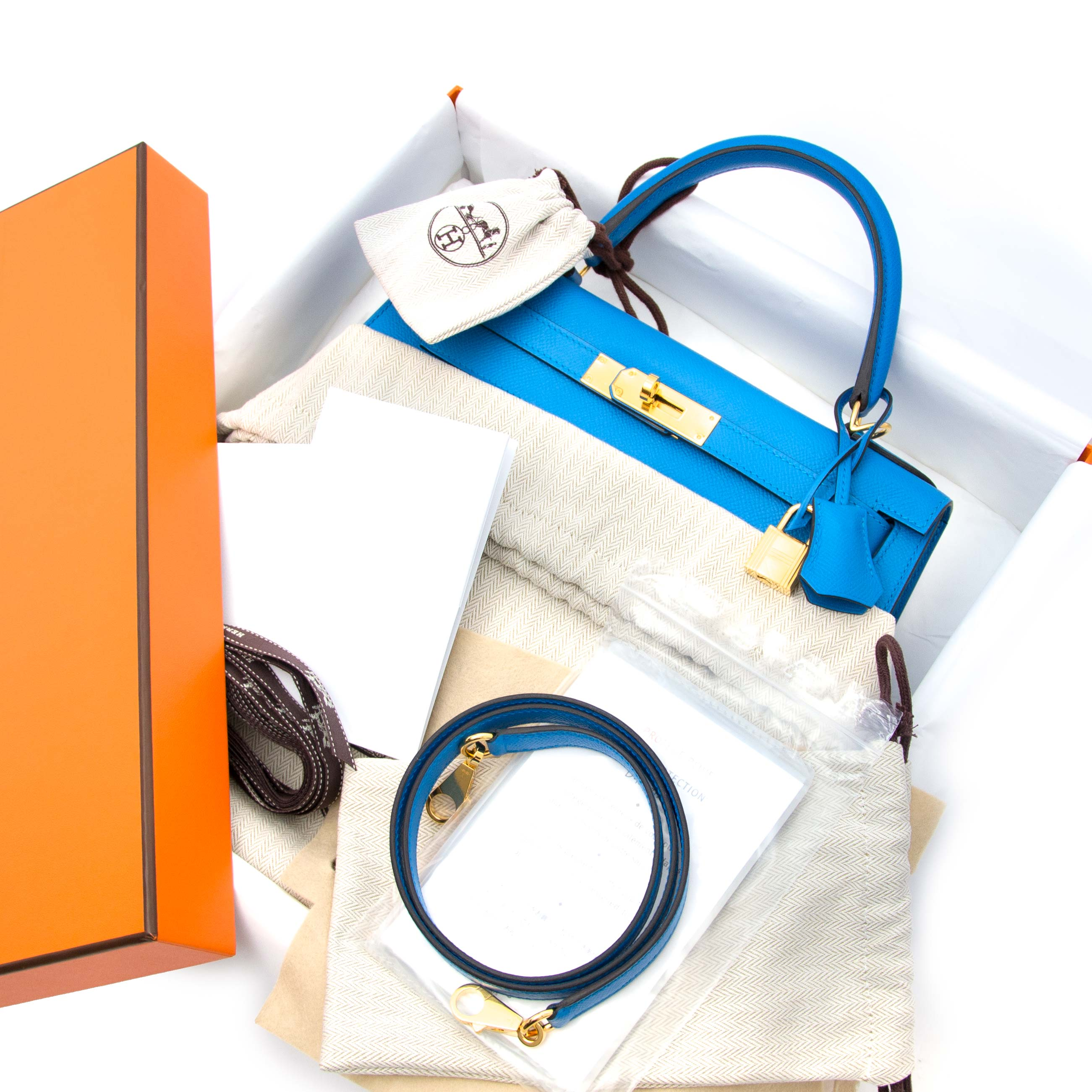 9f69d5c3a724 ... Zanzibar GHW shop your luxury acheter en ligne neuf sac a main Hermès  Kelly Sellier 28 Epsom Bleu
