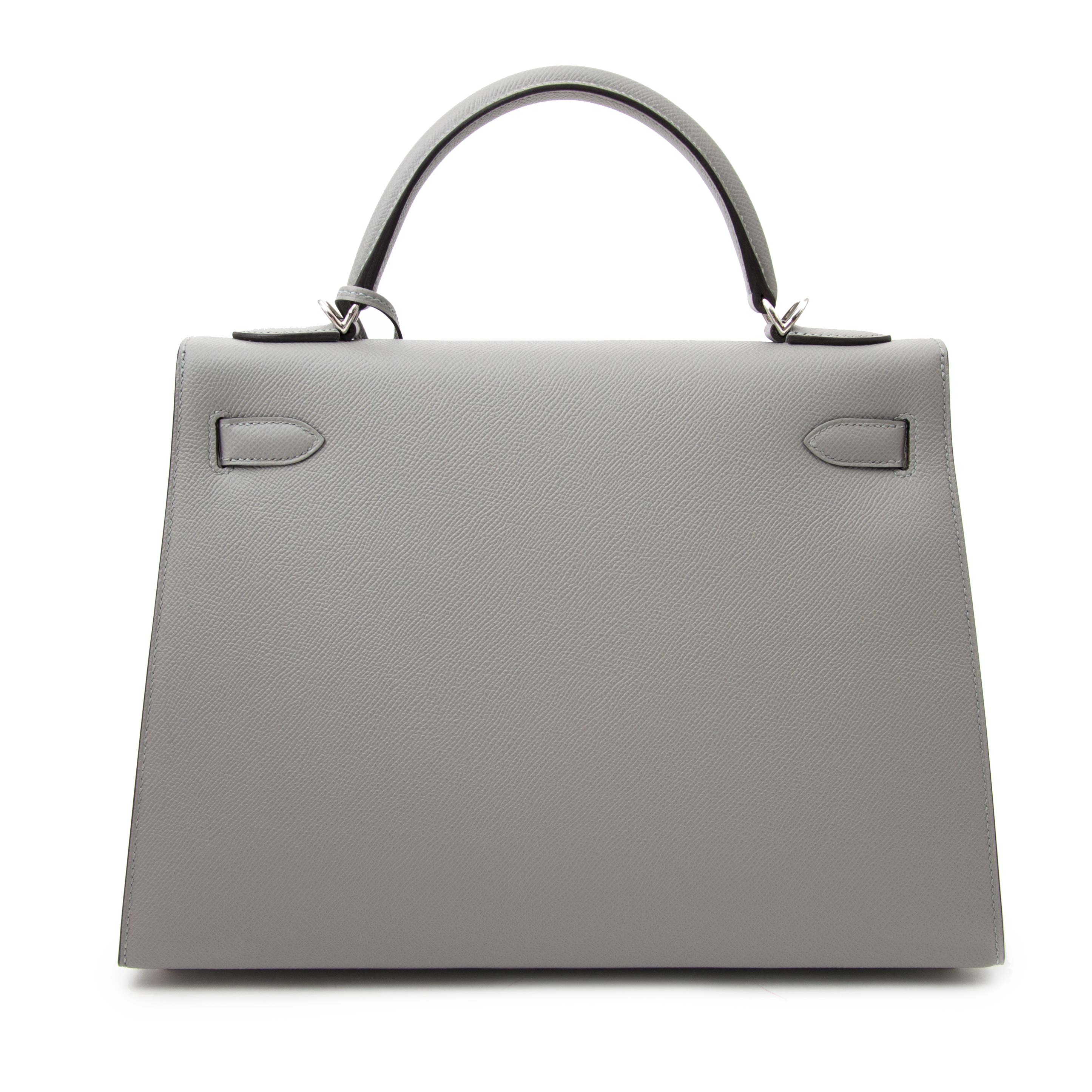 Hermès Kelly Sellier 32 Epsom Gris Mouette PHW for sale in Antwerp www.labellov.com. Labellov sells real designer items, new and vintage.