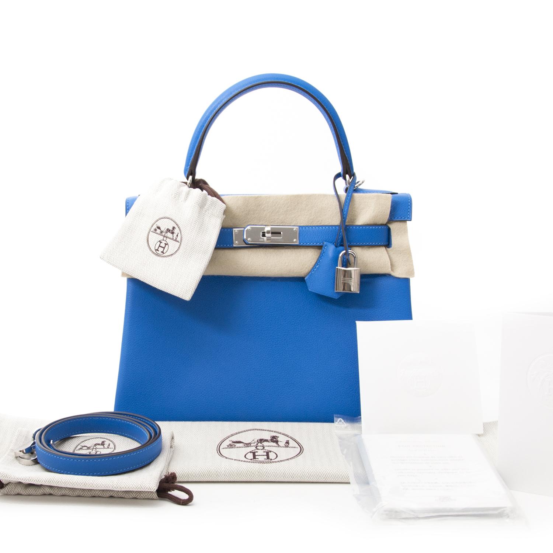 koop veilg online aan de beste prijs jou tweedehands koop online 100% authentieke Brand New Hermes Kelly 28 Evercalf Hydra