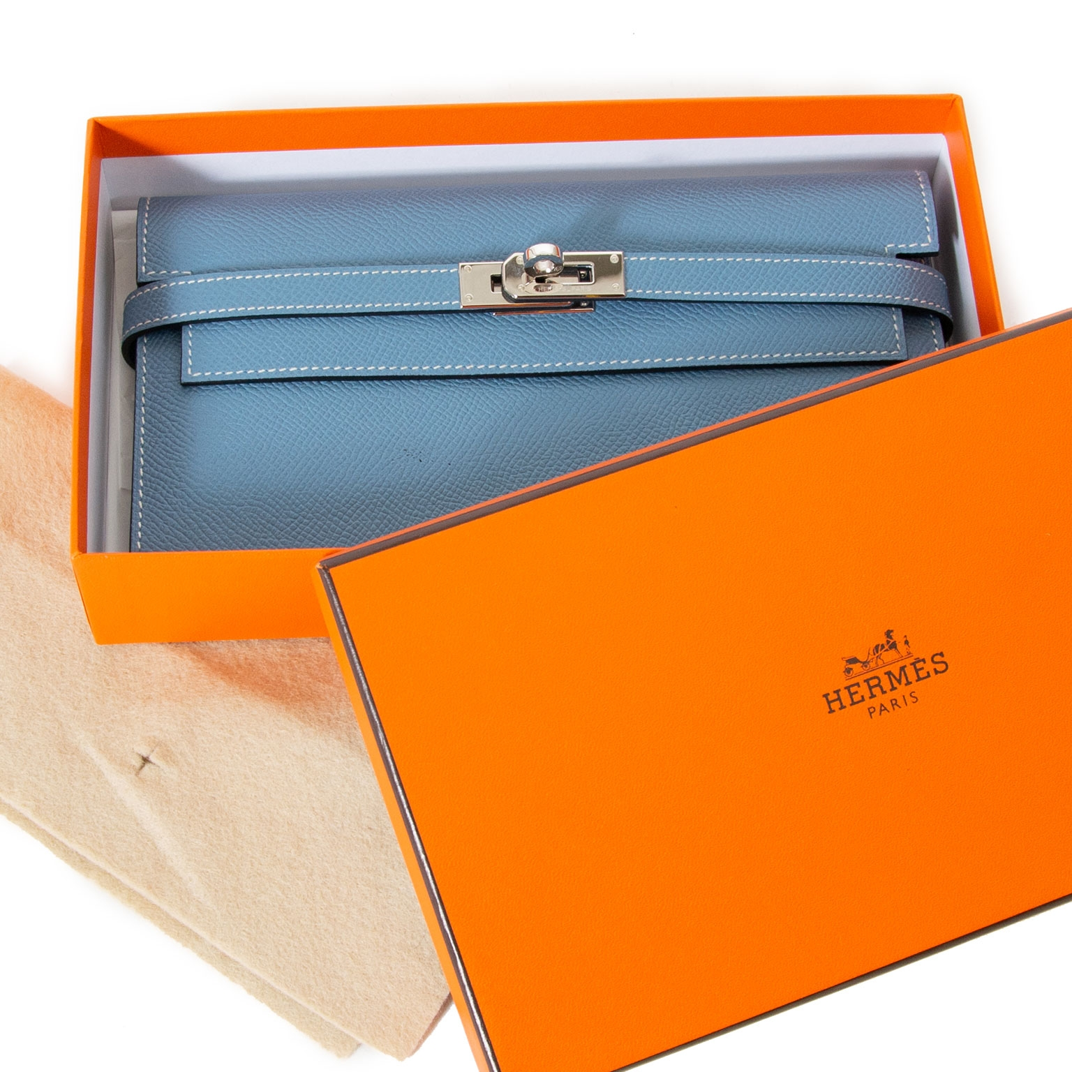 Hermes Kelly Wallet Blue Jean Veau Epsom now for sale at labellov vintage fashion webshop belgium