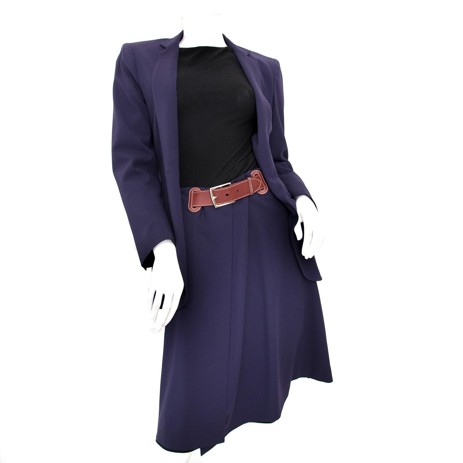 shop safe online as new Hermes Wool Blue Jacket Pencil Skirt Suit