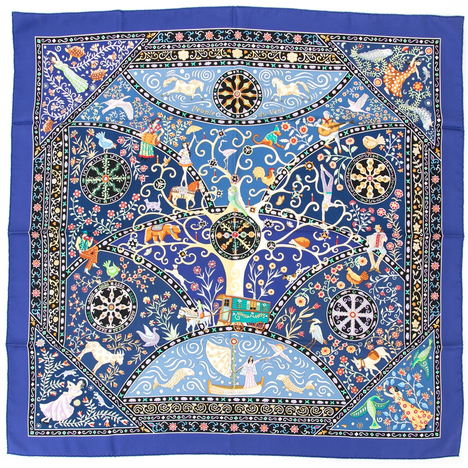 Buy Hermes scarf carré de soie peuple du vent 100% silk at the right price at LabelLOV vintage webshop. Luxe, vintage, fashion. Safe and secure online shopping. Antwerp, Belgium.