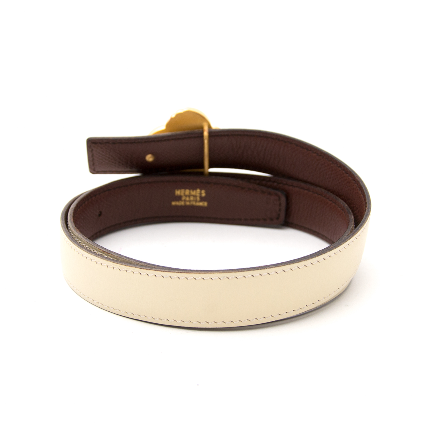 hermes cream/brown gold flower belt now online at labellov.com