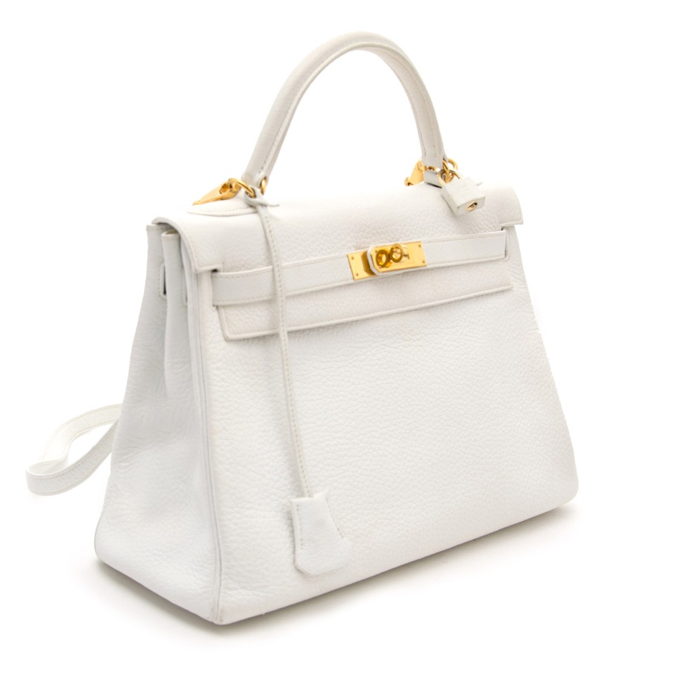 skip the waitinglist shop safe online authentic shop your designer luxury Hermès White Kelly 32cm Clemence Taurillon GHW at the best price online