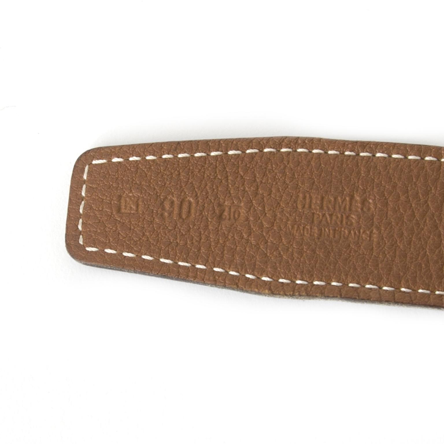 acheter en ligne secondemain centure Hermès Reversible Camel Black Belt pour le meilleu prix