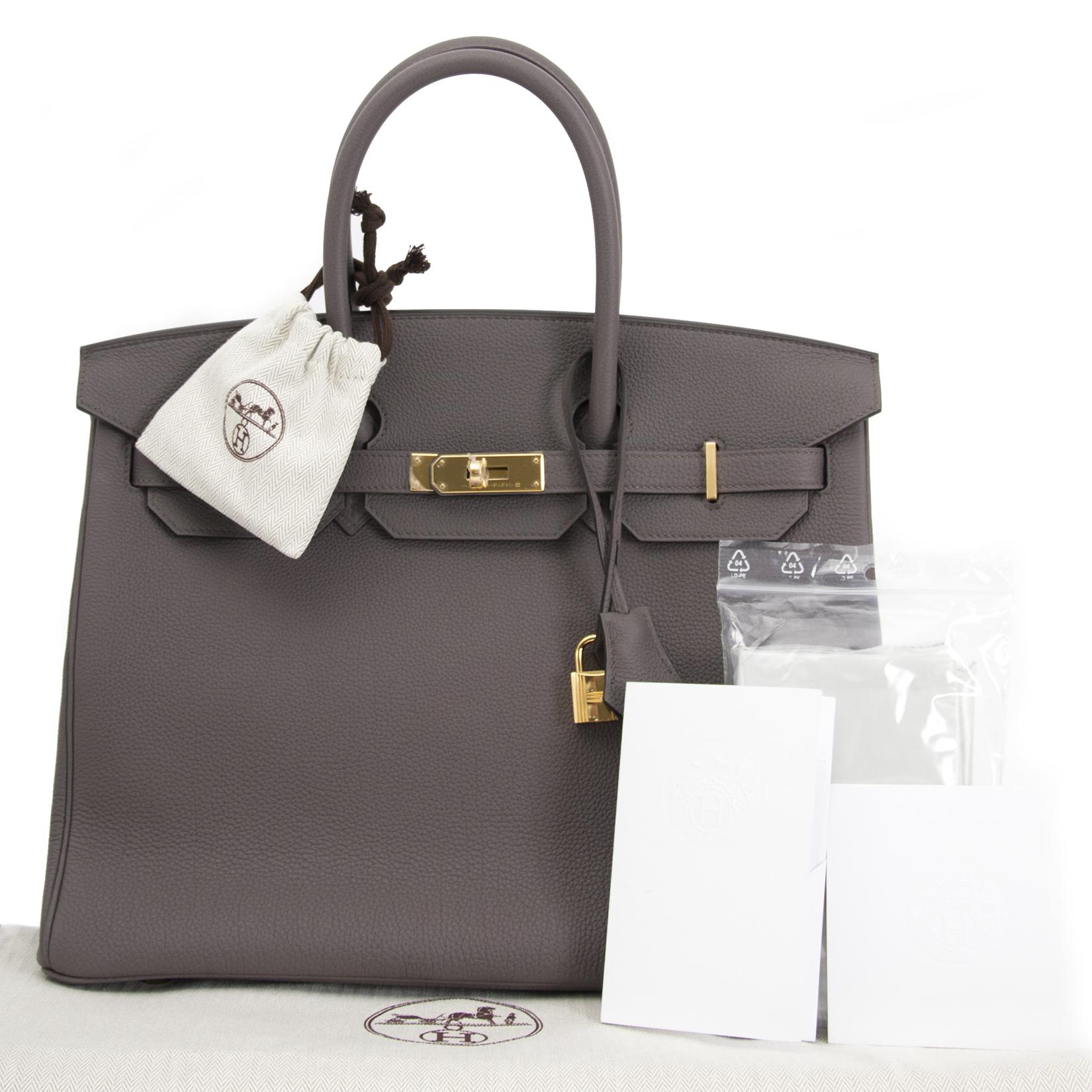 Bent u op zoek naar een authentieke designer handtas zoals deze Hermès Birkin 35 Etain Togo GHW?