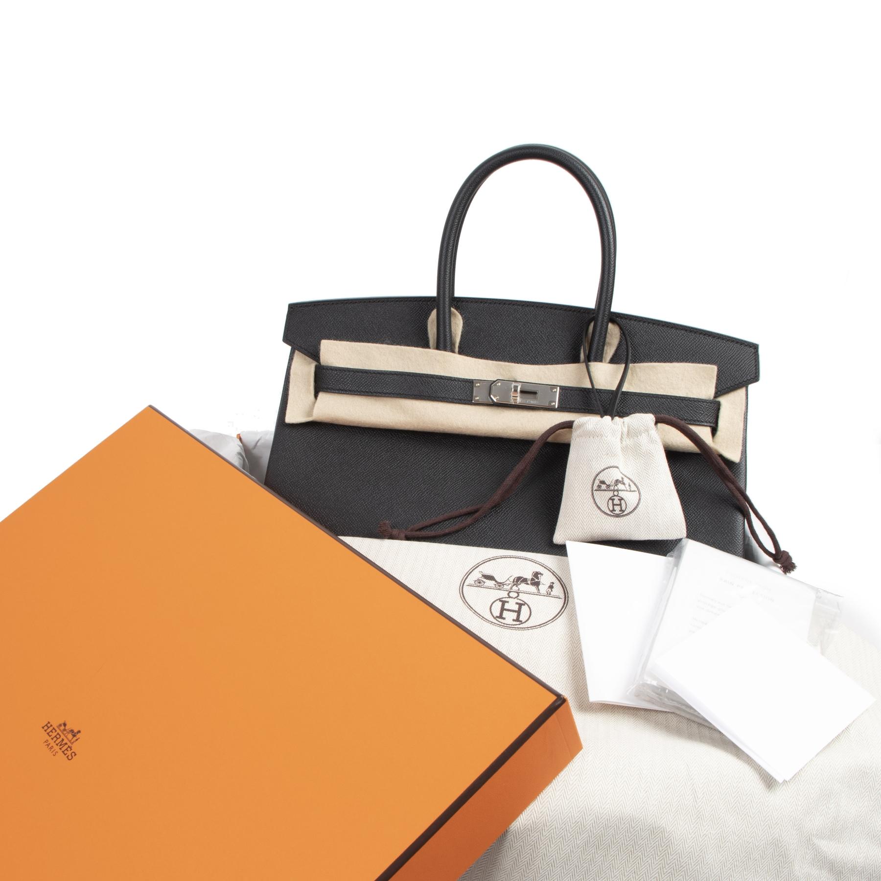 Authentic second-hand vintage Hermès Birkin 35 Black Epsom PHW buy online webshop LabelLOV