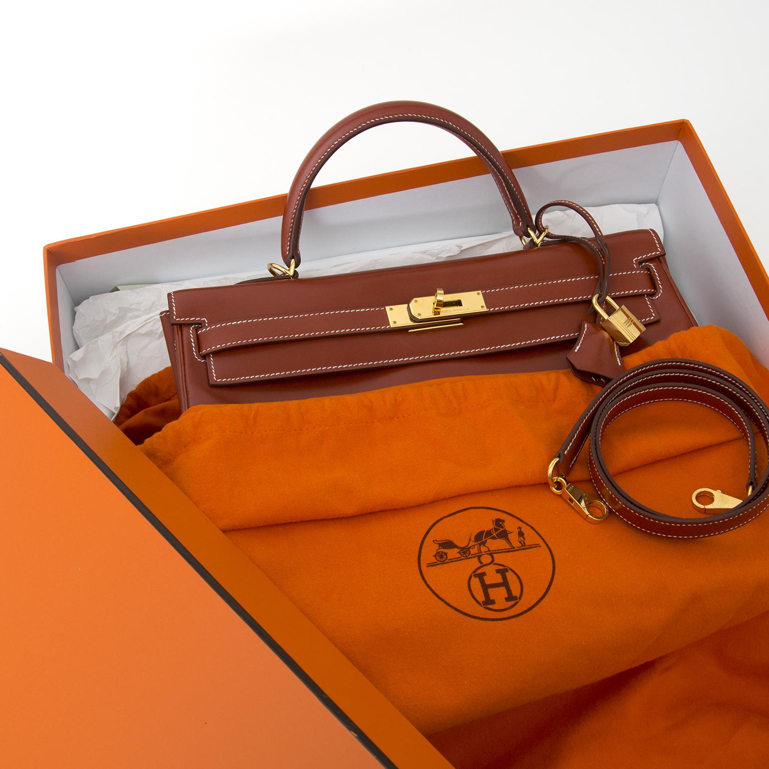 Hermes Black 32cm Box Calf Kelly Sellier Bag, GHW