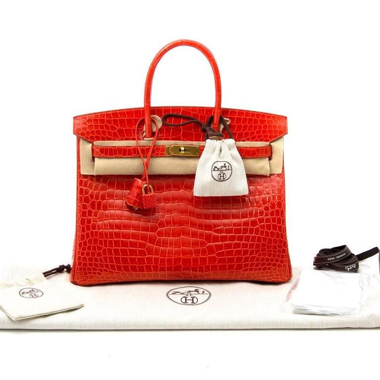 shop safe online 100% authentic Brand New Hermes Birkin 35 Orange Poppy Porosus Lisse worldiwde shipping