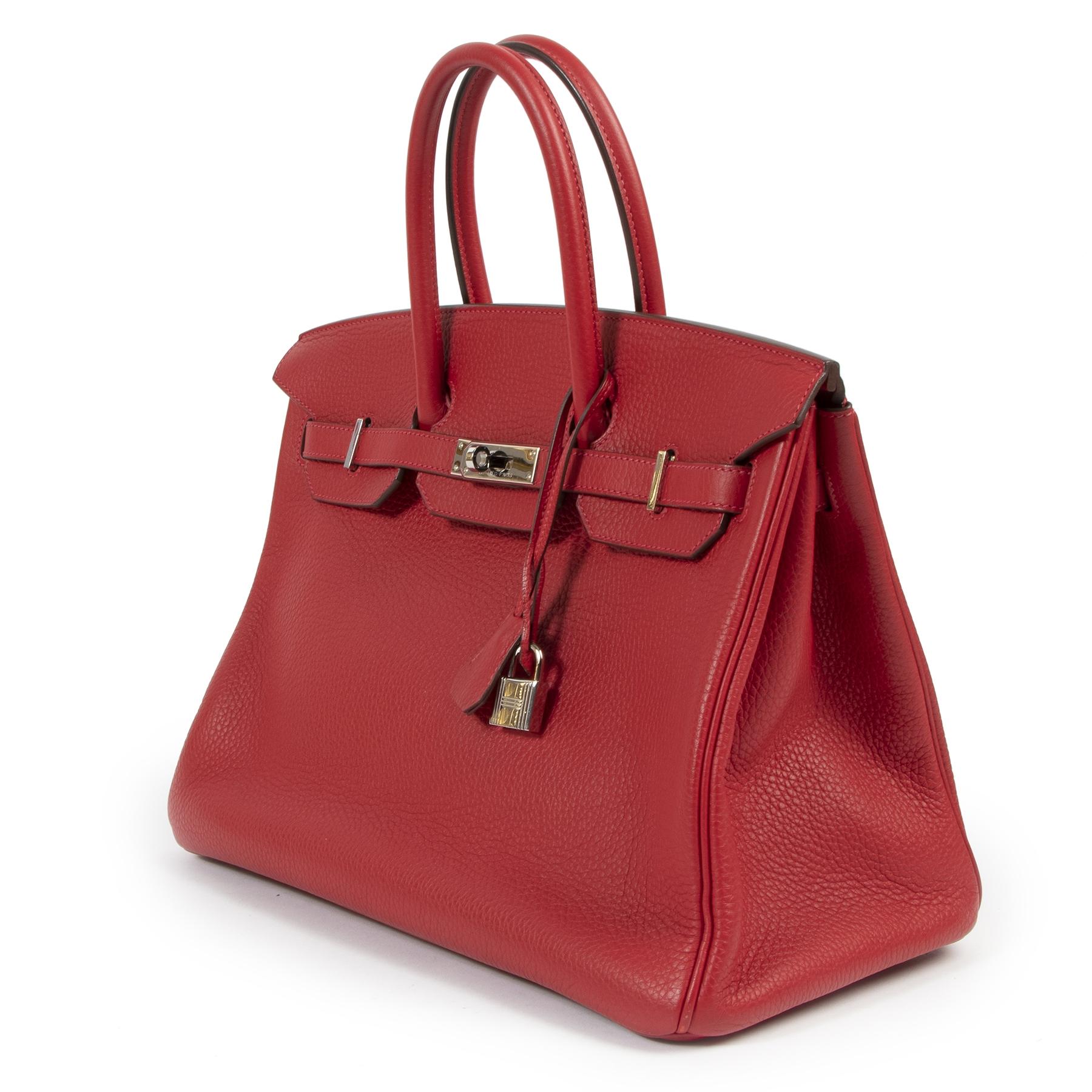 Hermès Birkin 35 Rouge Casaque Taurillon Clemence PHW te koop aan de beste prijs bij Labellov tweedehands luxe in Antwerpen
