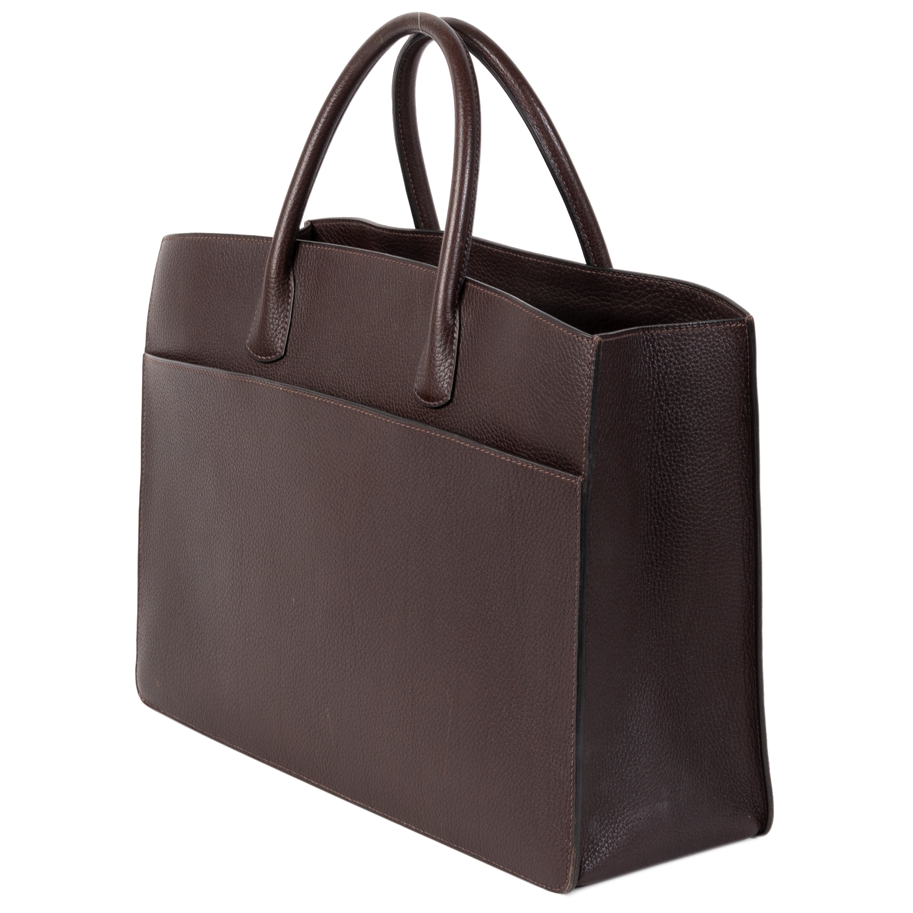 shop safe online your second hand Hermès Dark Brown Whit Bus Top Handle  Bag