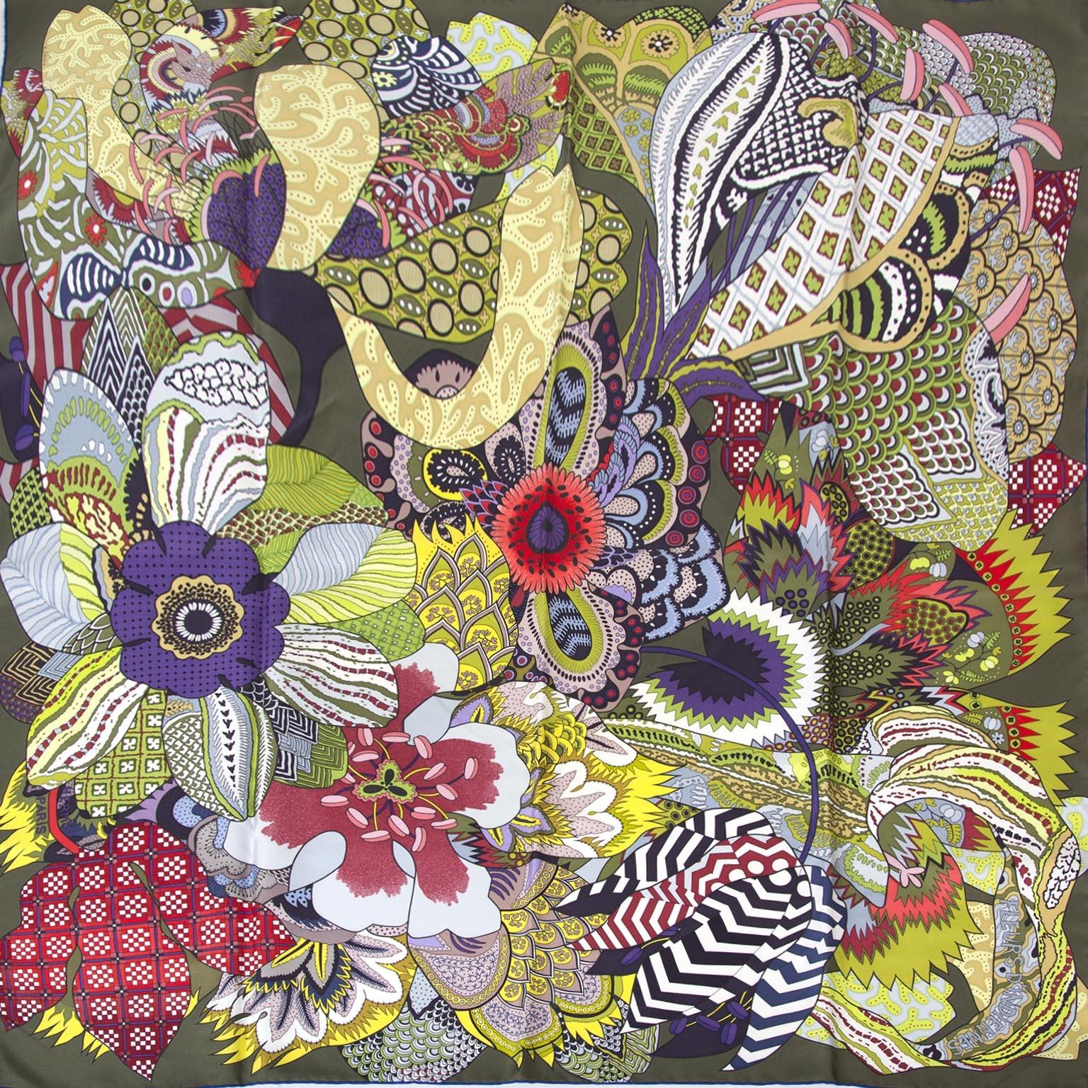 hermes carre silk scarf fleur d'indiennes now for sale at labellov vintage fashion webshop belgium