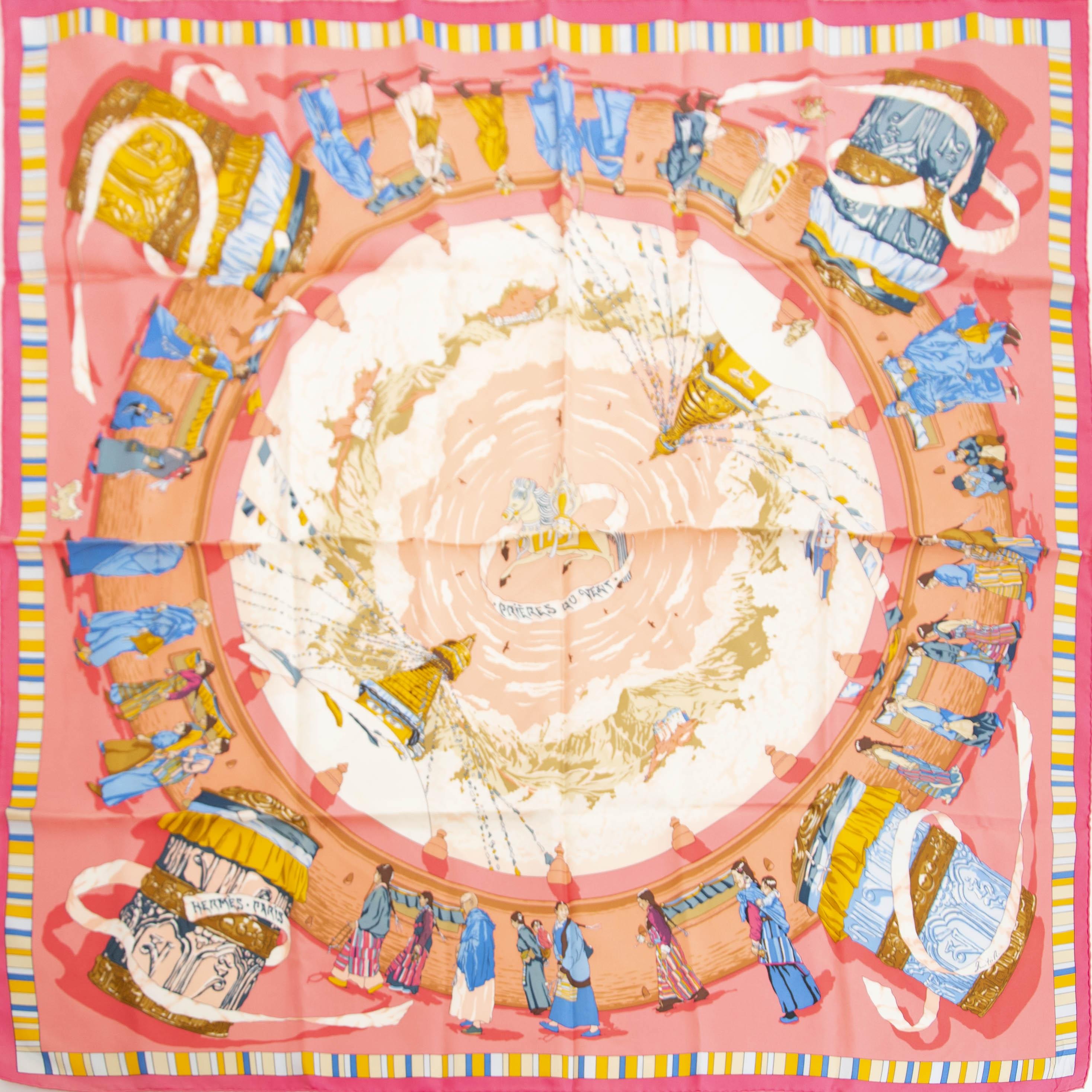 Koop authentieke tweedehands Hermès Carré Prières Au Vent Pink bij online webshop LabelLOV