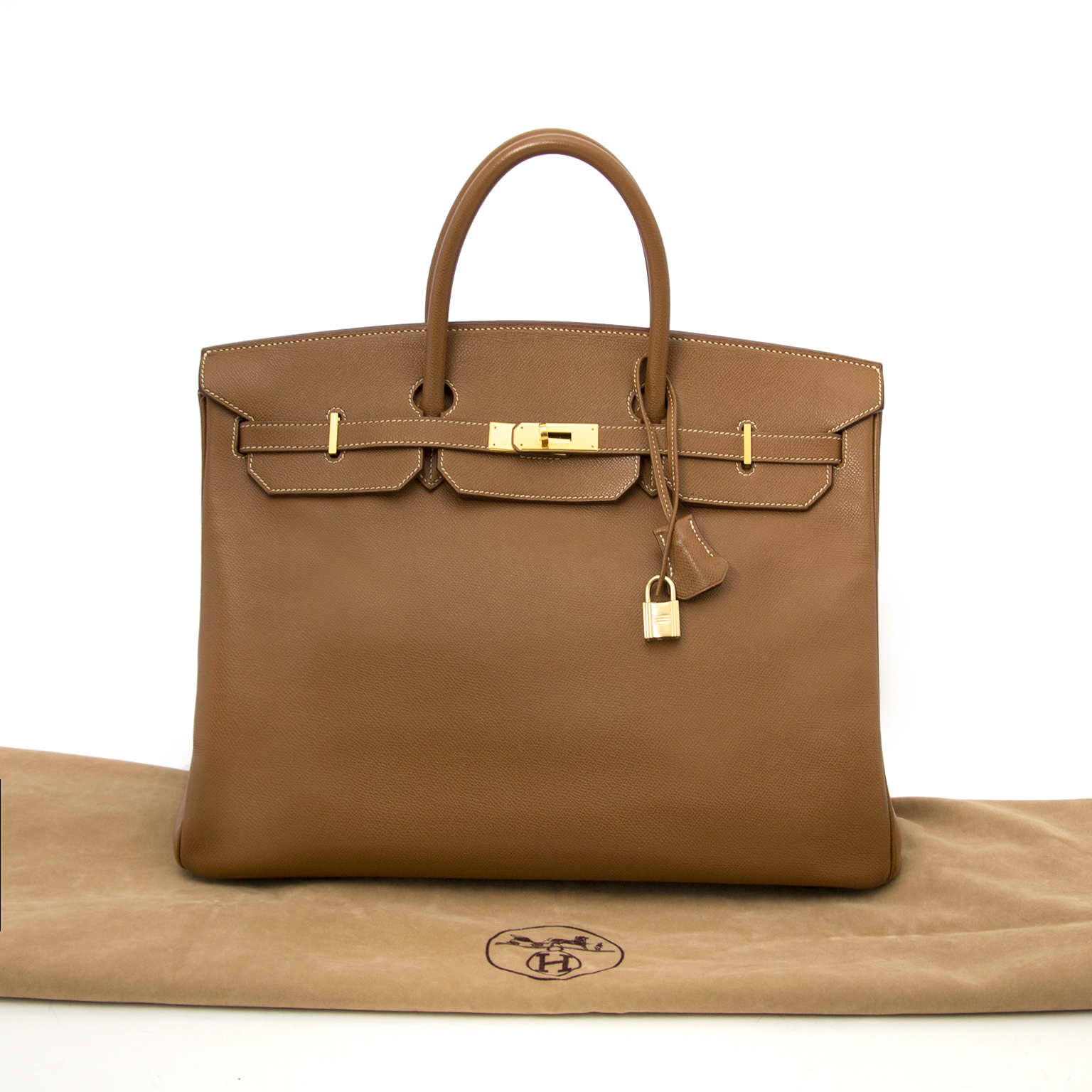 comme neuf sac a main 100% authenic Hermes Birkin 40 Gold  Hermes Veau Grain Lisse GHW for the best price