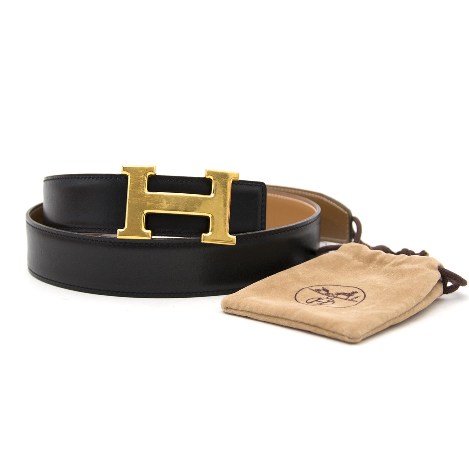 Acheter en ligne chez Labellov.com Hermès Reversible Gold/Black Constance H Belt