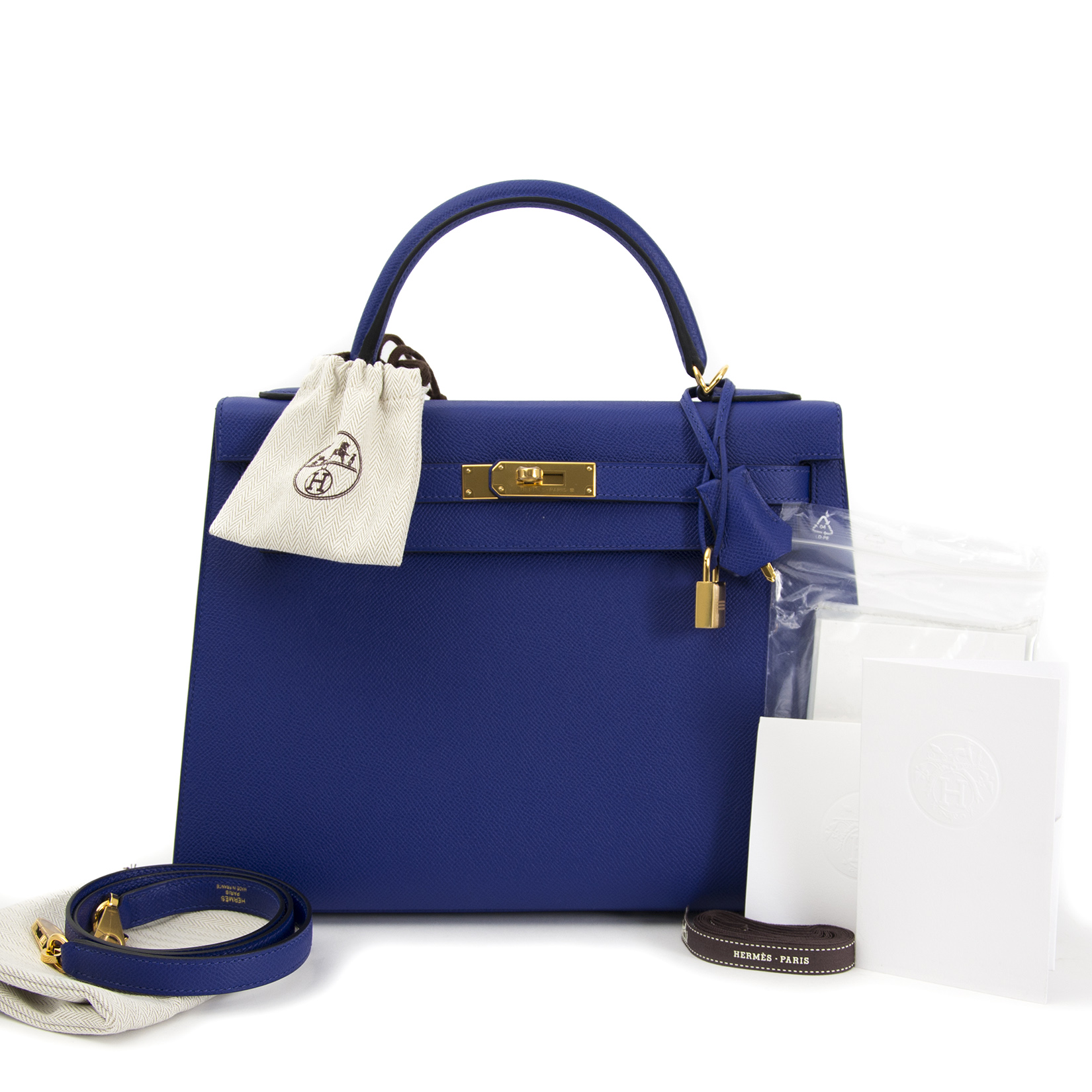 Are you looking for an authentic Hermès Kelly 32 Sellier Bleu Electrique Epsom GHW ?