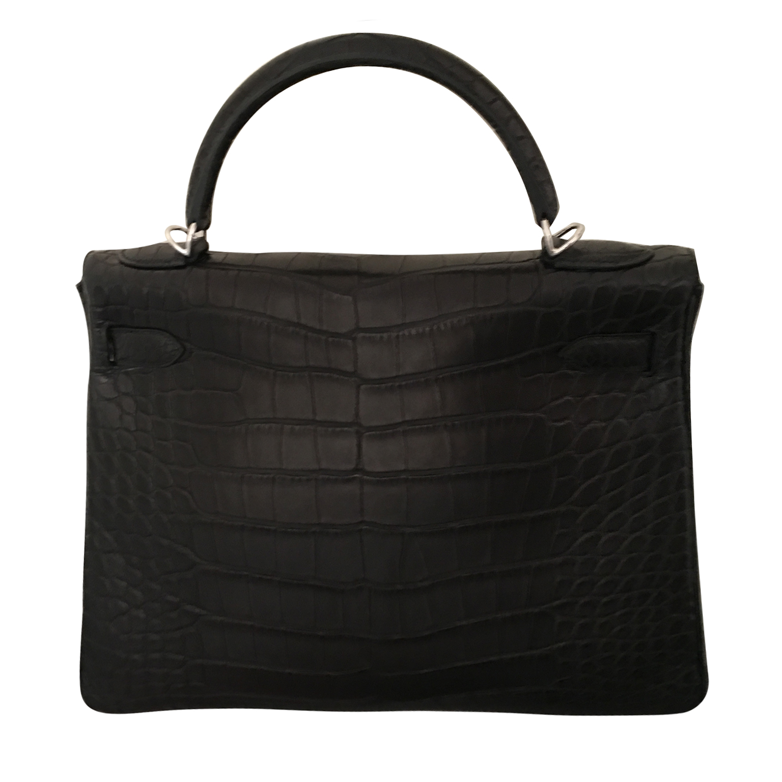 100% authentic Hermès Kelly 32 Black Matte Aligator PHW sold out everywhere