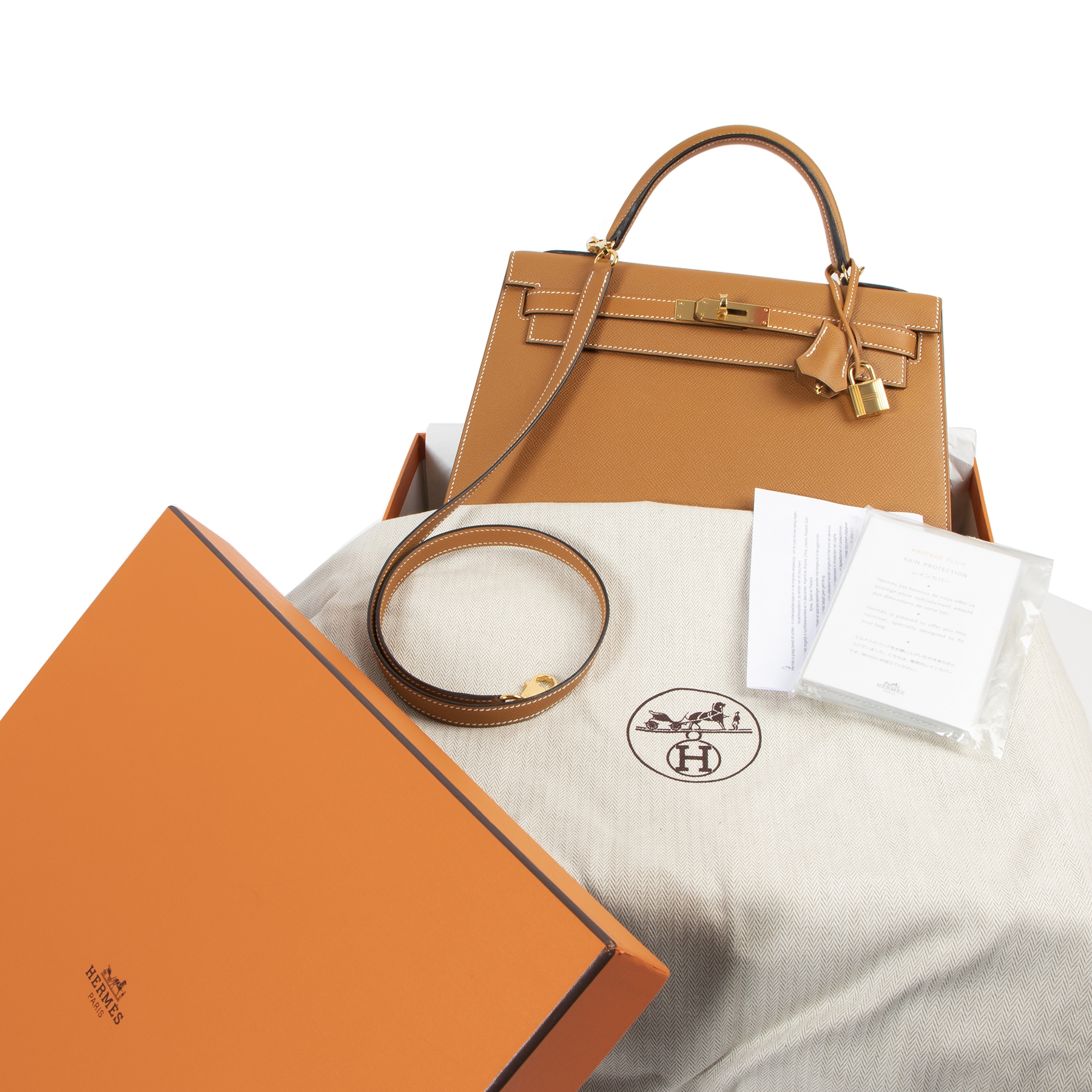 Are you looking for an authentic designer Hermès Kelly 32 Toffee Sellier Epsom GHW?