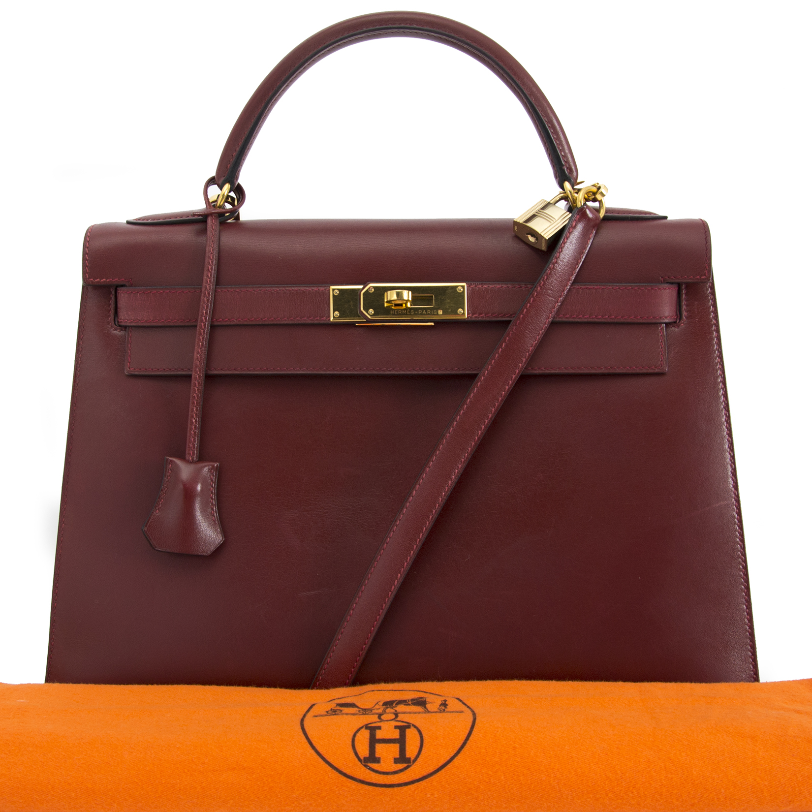 acheter en ligne pour le meilleur prix Hermes Kelly Sellier 32 Bordeaux Box Calf