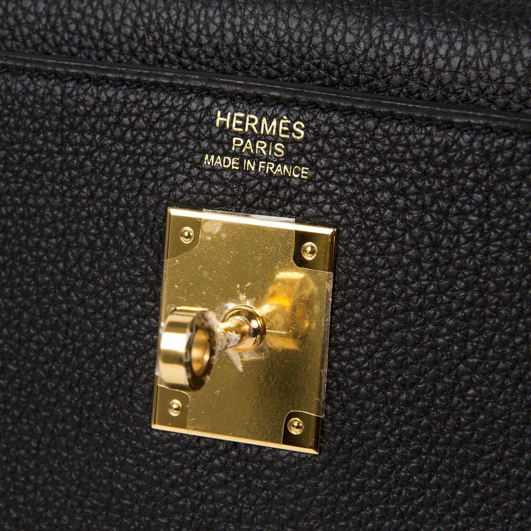 Koop zonder wachtlijst Hermès Kelly 32 Black Togo GHW