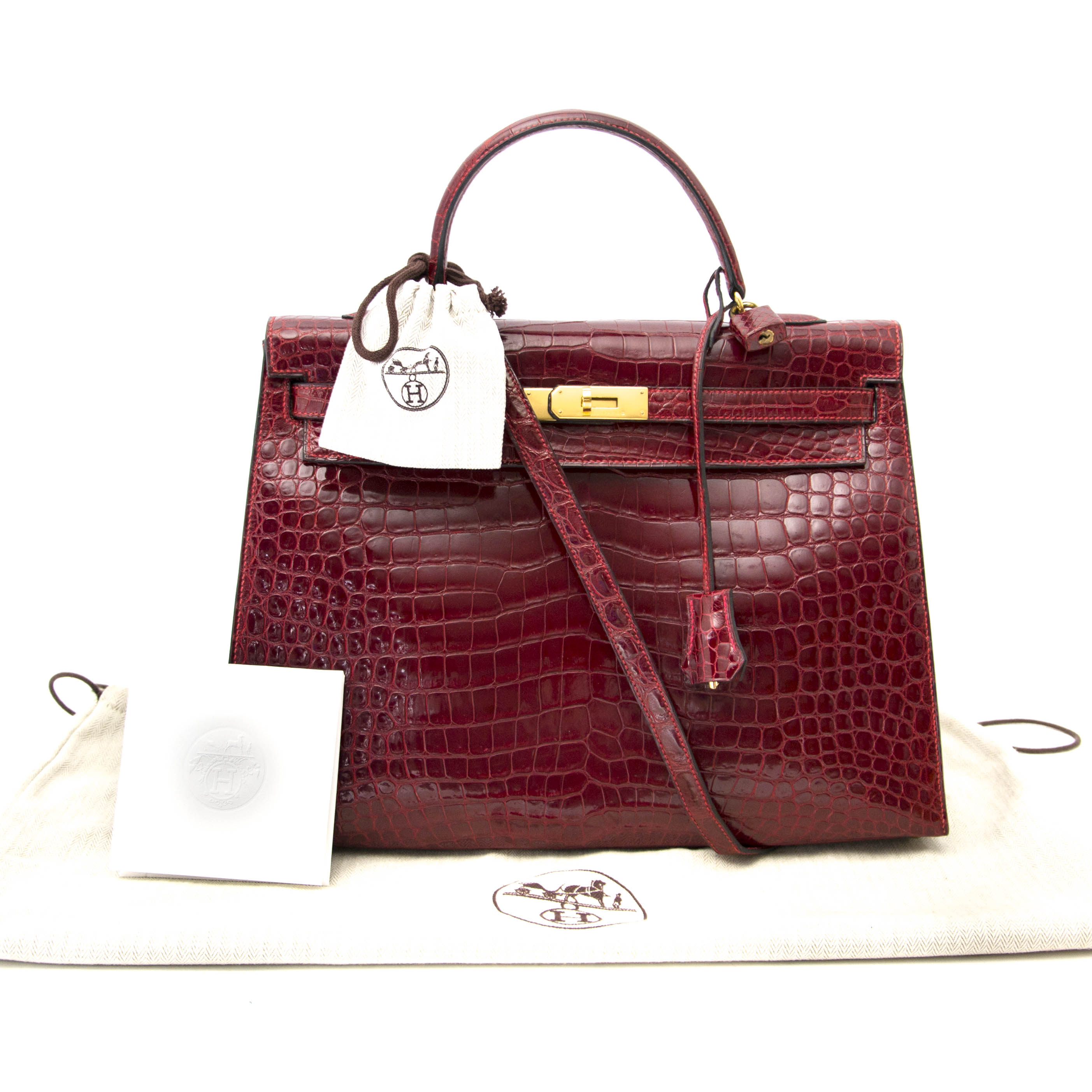 looking for a secondhand Rare Hermes Kelly 35 Rouge H Alligator GHW? online at the best price your luxury