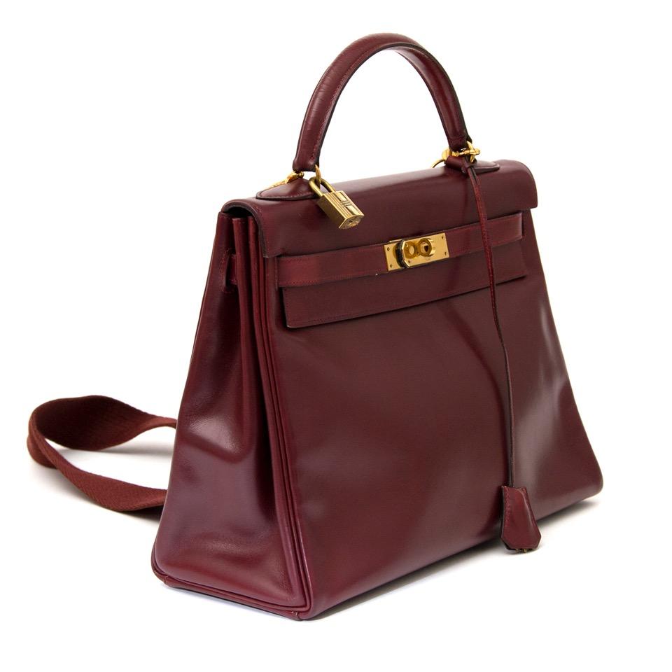acheter en ligne pour le meilleur prix sac a main Hermes Kelly Rouge Hermes Boxcalf 32 + Strap