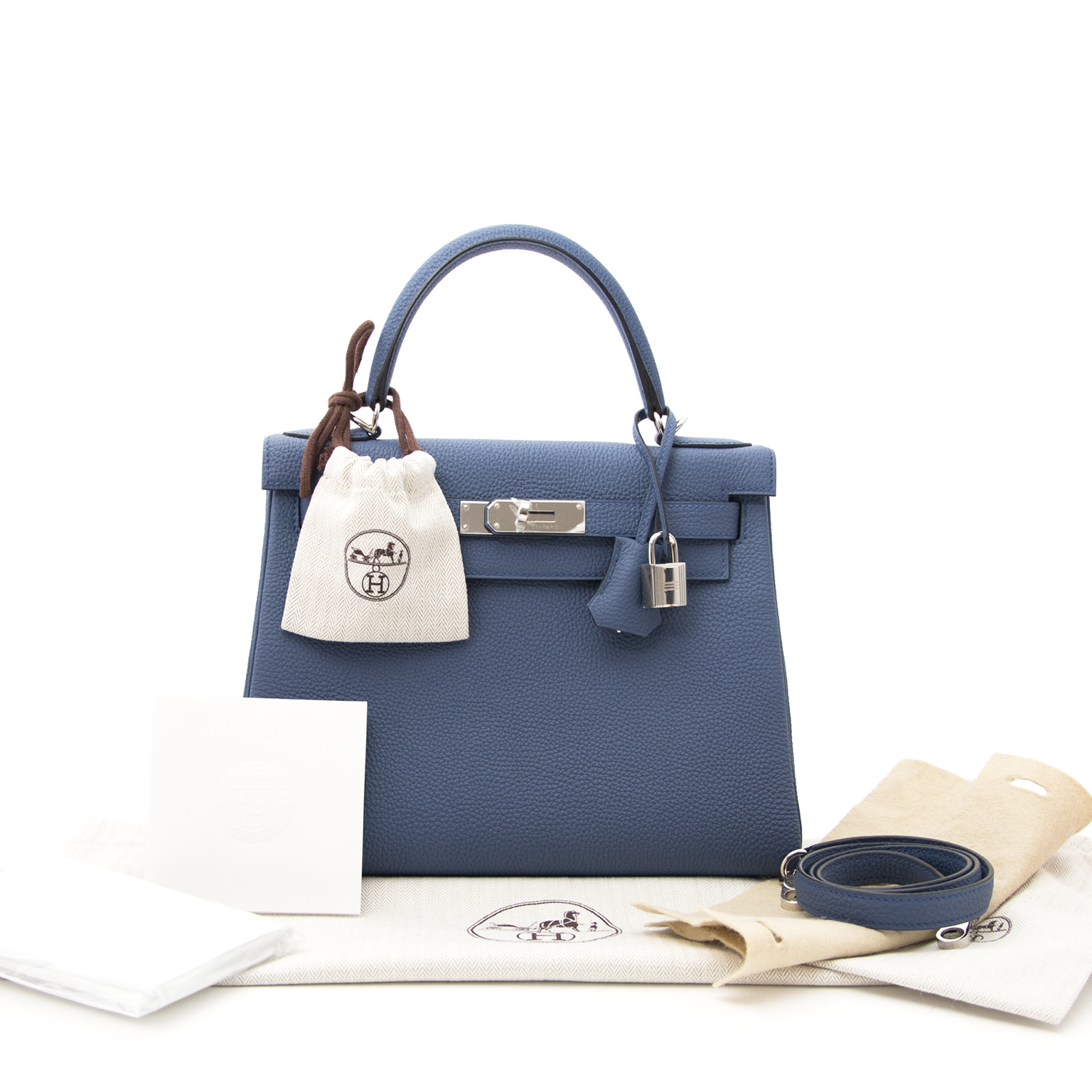shop safe online your secondhand Brand New Hermes Kelly 28 Bleu Agate Togo PHW