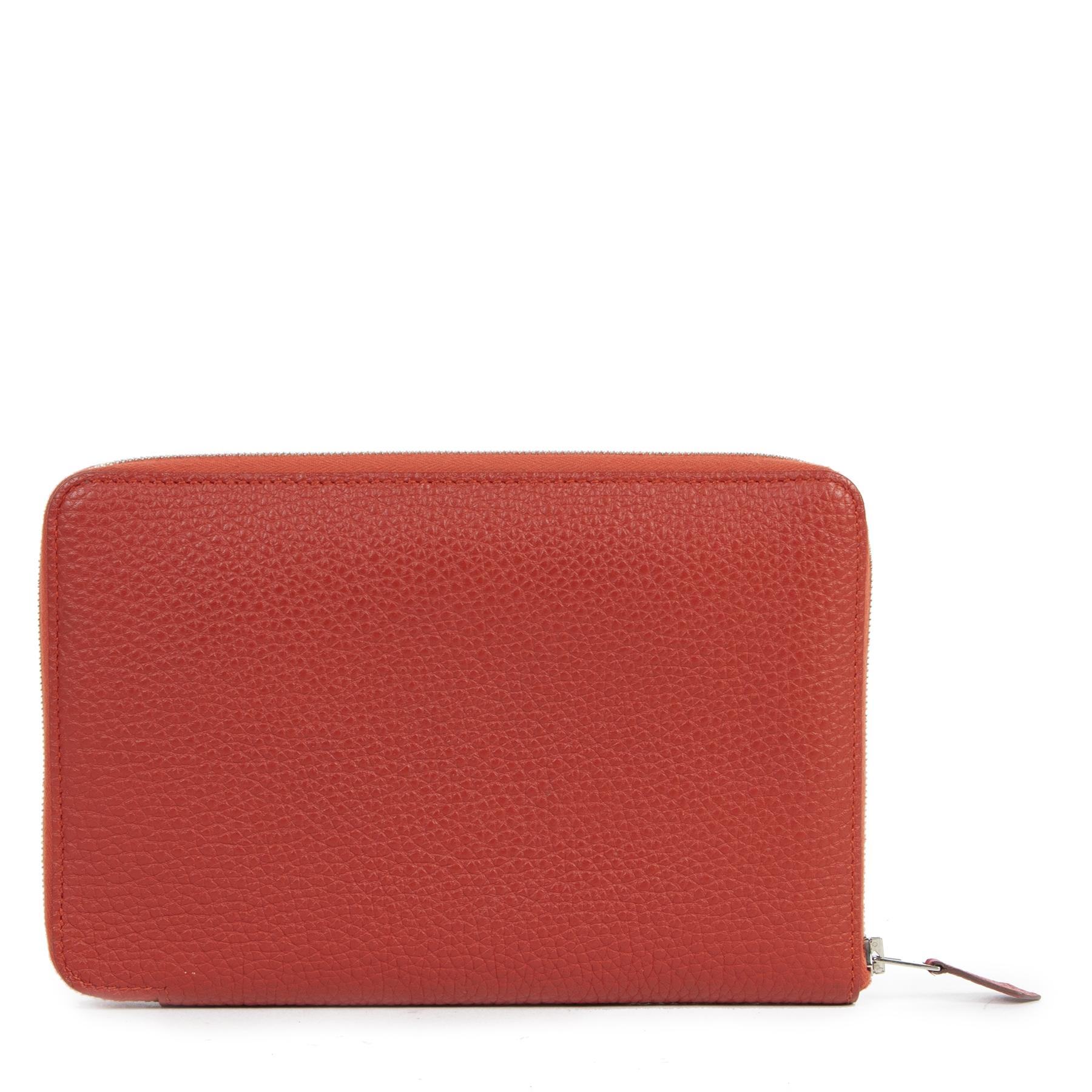 acheter en ligne seconde main Hermes Vermillon Azap Classique Wallet