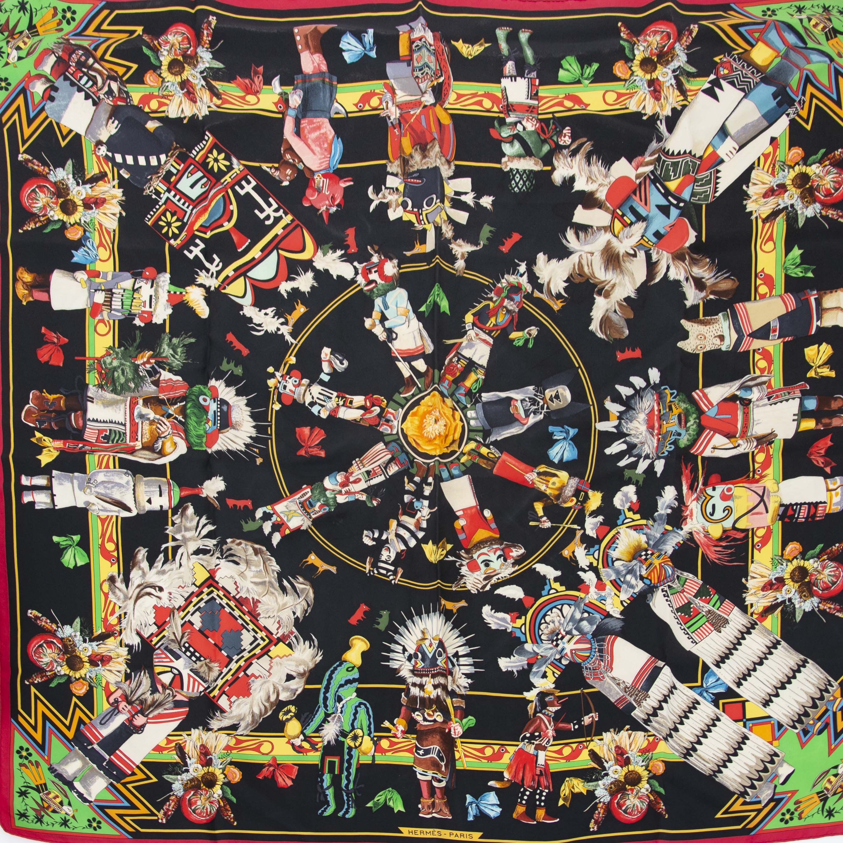 Authentieke tweedehands Hermes Scarf Aztec Print online shopping LabelLOV