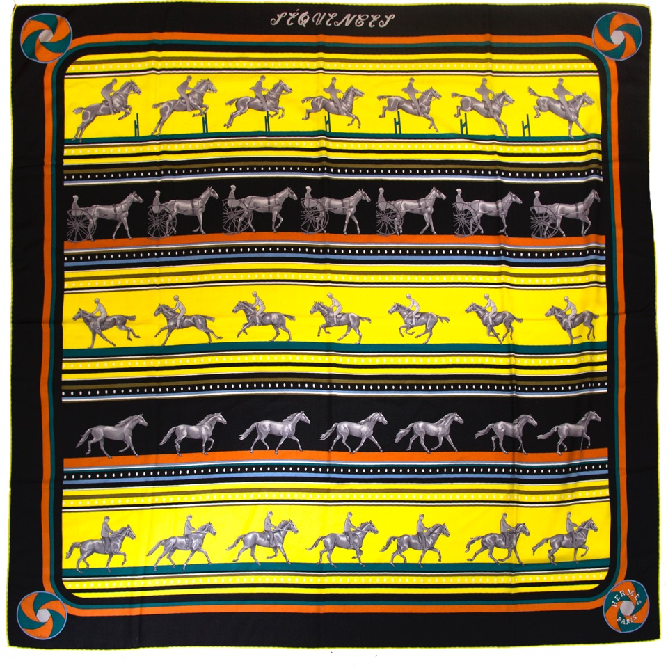 Buy vintage Hermès Sequences scarves in black and yellow for the best price at Labellov webshop. Safe and secure online shopping with 100% authenticity. Acheter vintage Hermès Sequences foulards pour le meilleur prix.