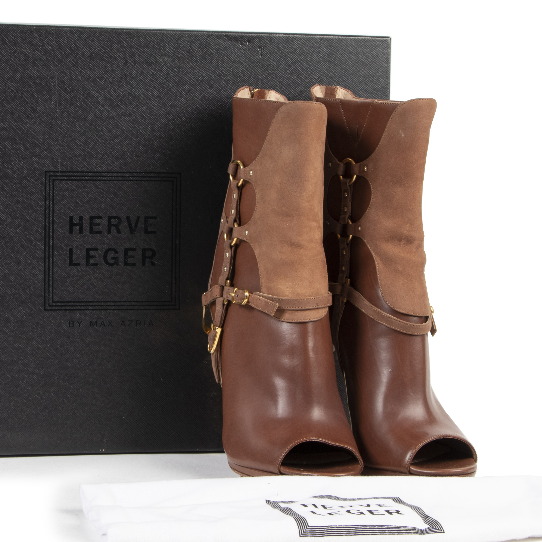 We buy and sell your Herve Leger Brown Alyn Day Boots for the best price online