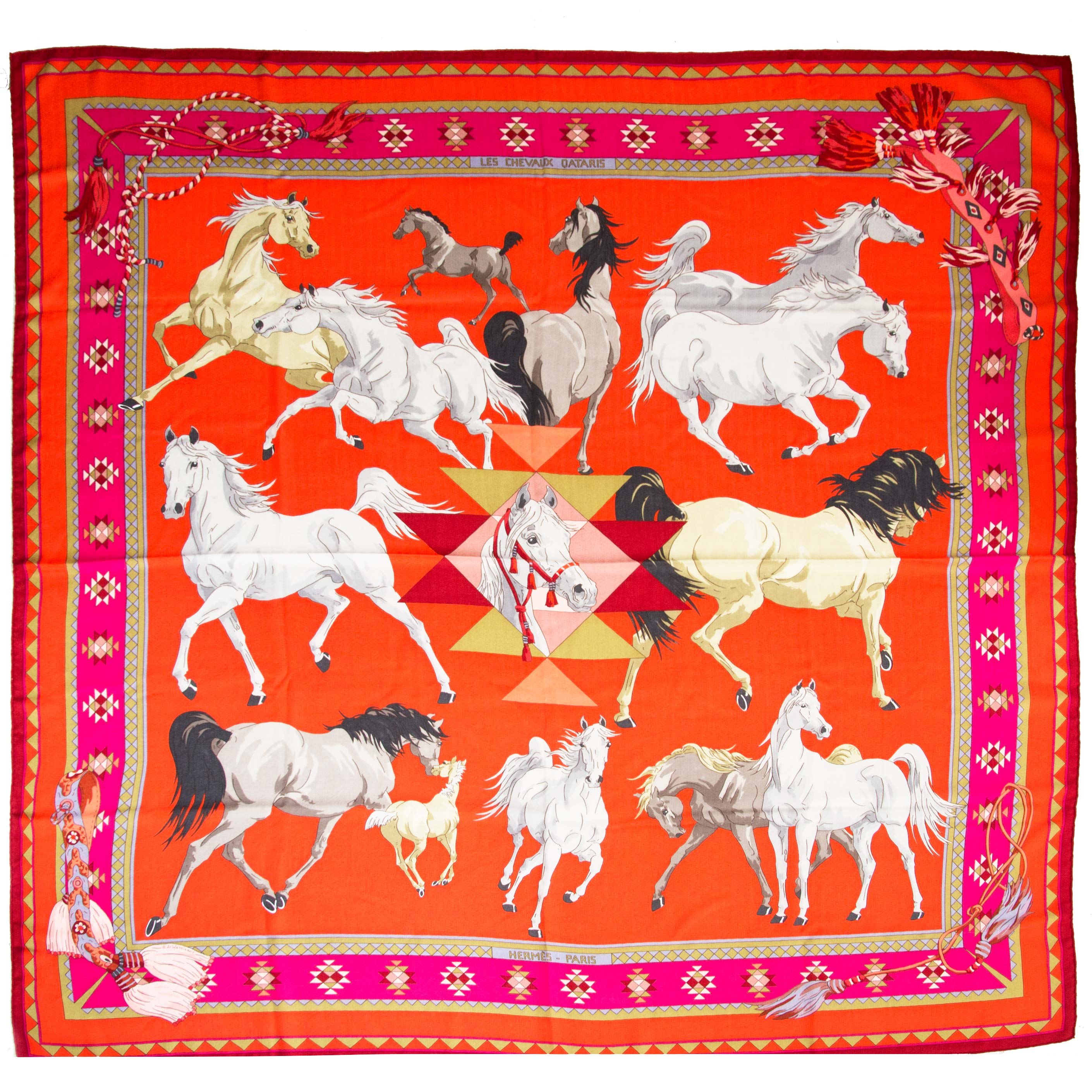 hermes scarf cashmere les chevaux quataris now online at labellov.com for the best price
