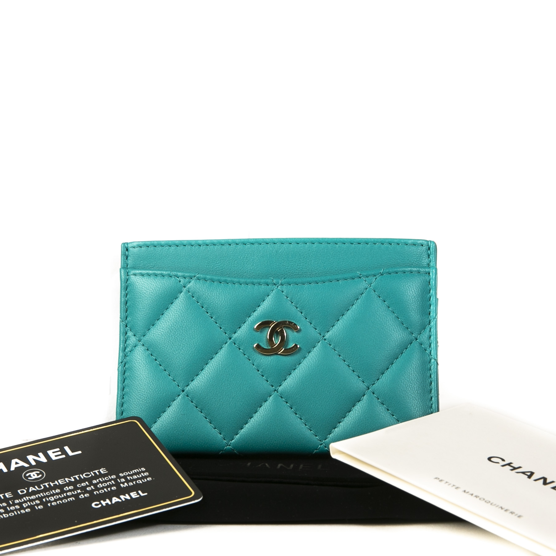 Chanel Turquoise Quilted Leather Card Holder