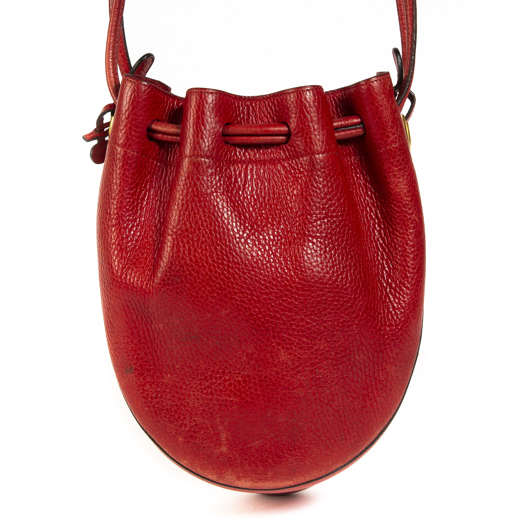 Delvaux Red Leather Bucket Bag