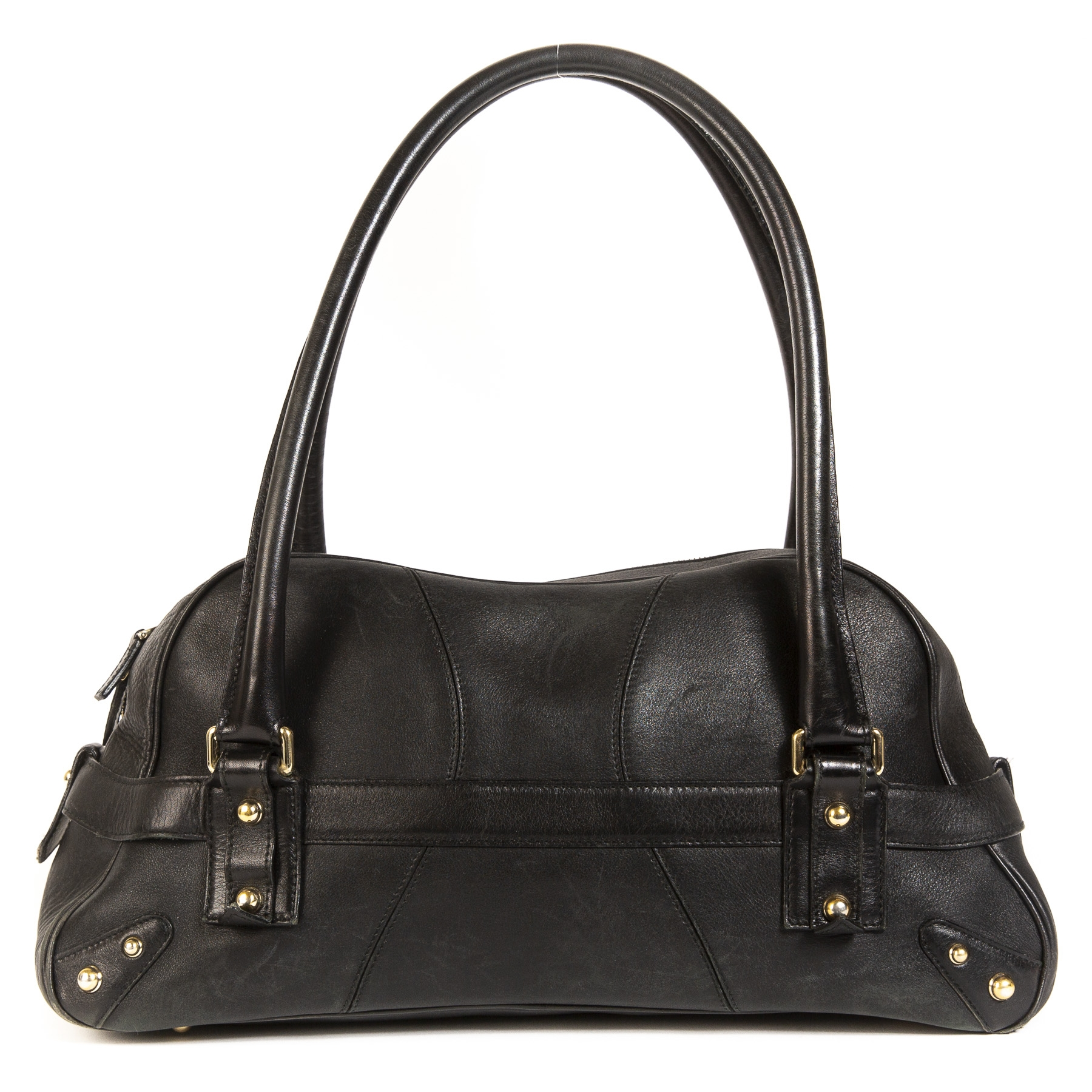 shop safe onlnie Gucci Black Horsebit Leather Satchel Bag