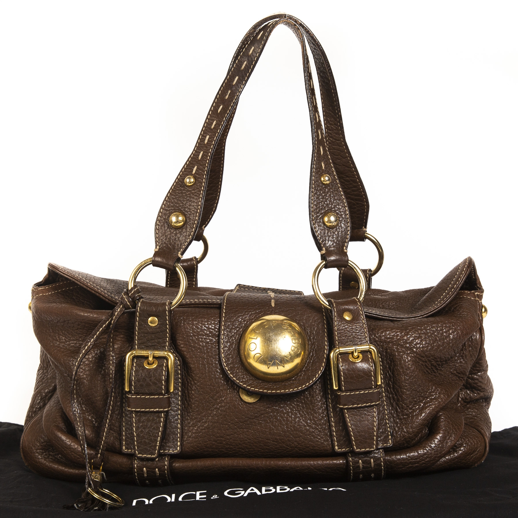 acheter en ligne seconde main Dolce & Gabbana Brown Leather Shoulder Bag