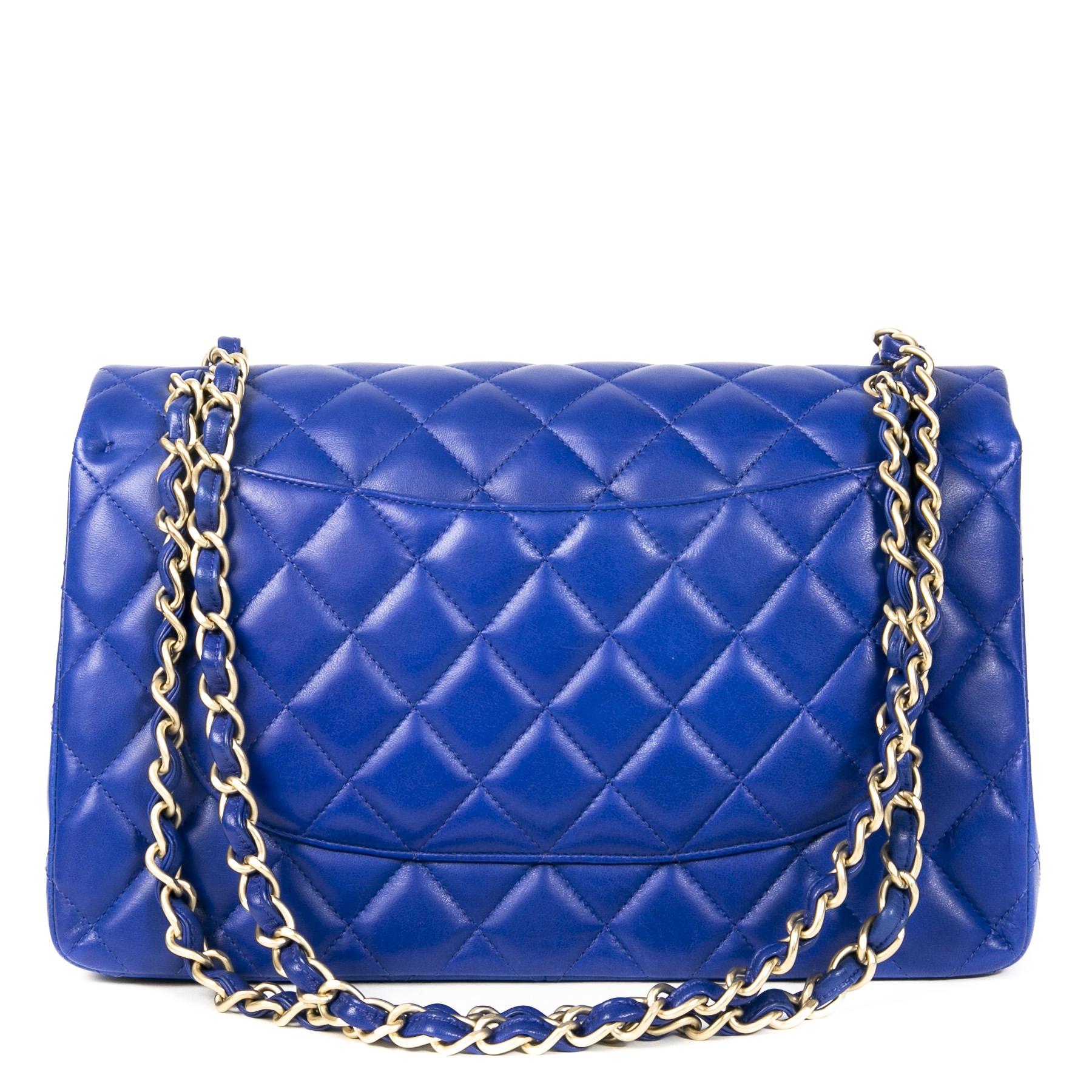 Authentieke Tweedehands Chanel Cobalt Blue Jumbo Classic Double Flap Bag juiste prijs veilig online shoppen luxe merken webshop winkelen Antwerpen België mode fashion