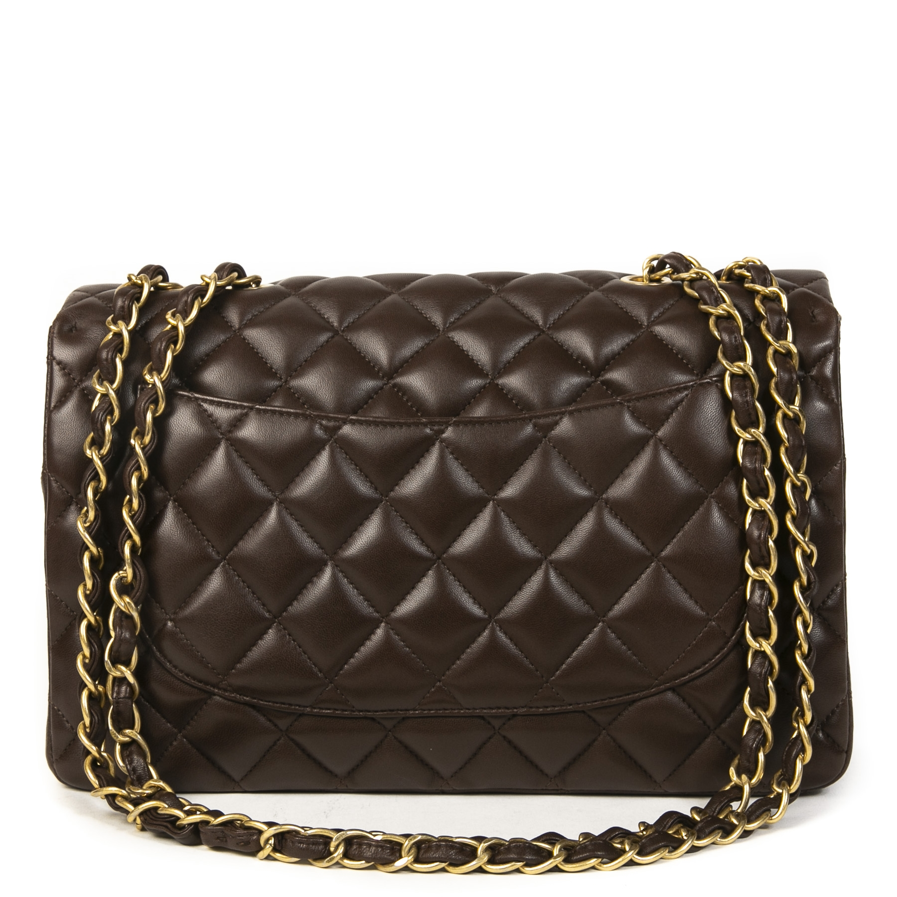 Authentieke Tweedehands Chanel Chocolate Brown Jumbo Classic Single Flap Bag juiste prijs veilig online shoppen luxe merken webshop winkelen Antwerpen België mode fashion
