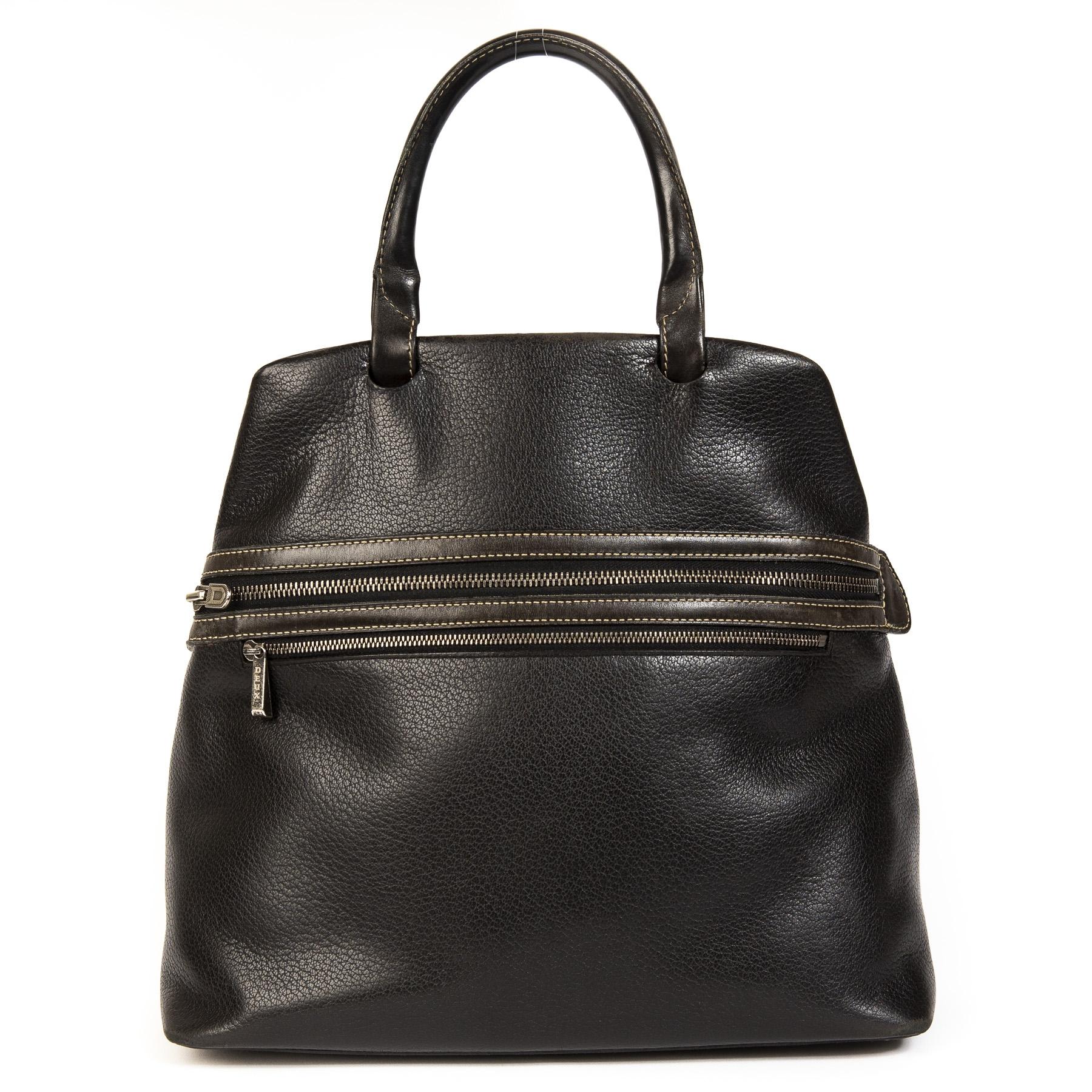 Deux De Delvaux Black Top Handle Bag
