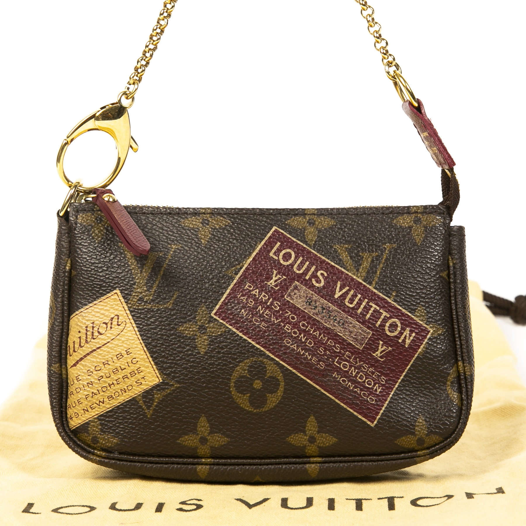 Louis Vuitton Monogram Traveling Stamp Mini Pochette for the best price at Labellov