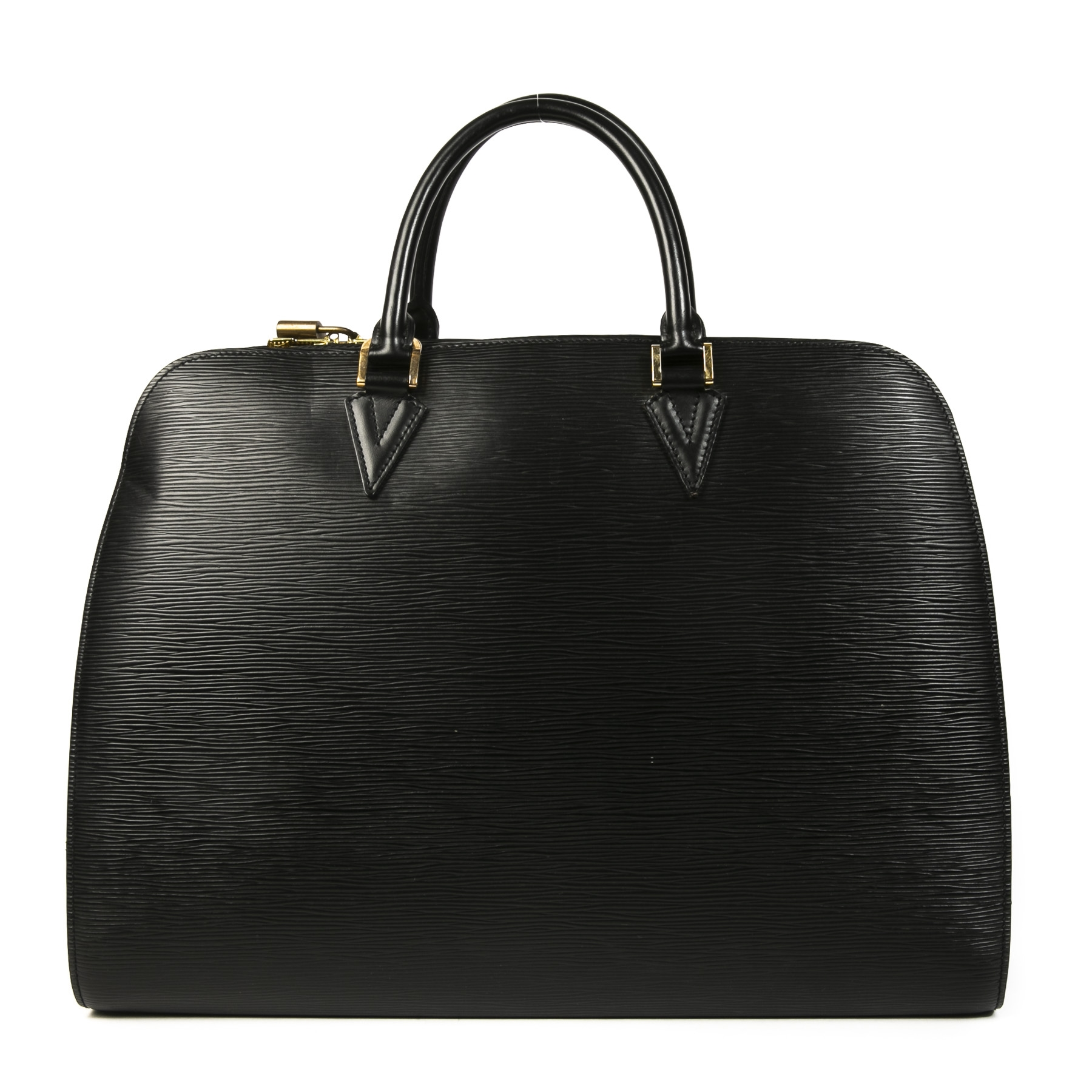 Authentieke tweedehands vintage Louis Vuitton Black Epi Top Handle Bag koop online webshop LabelLOV