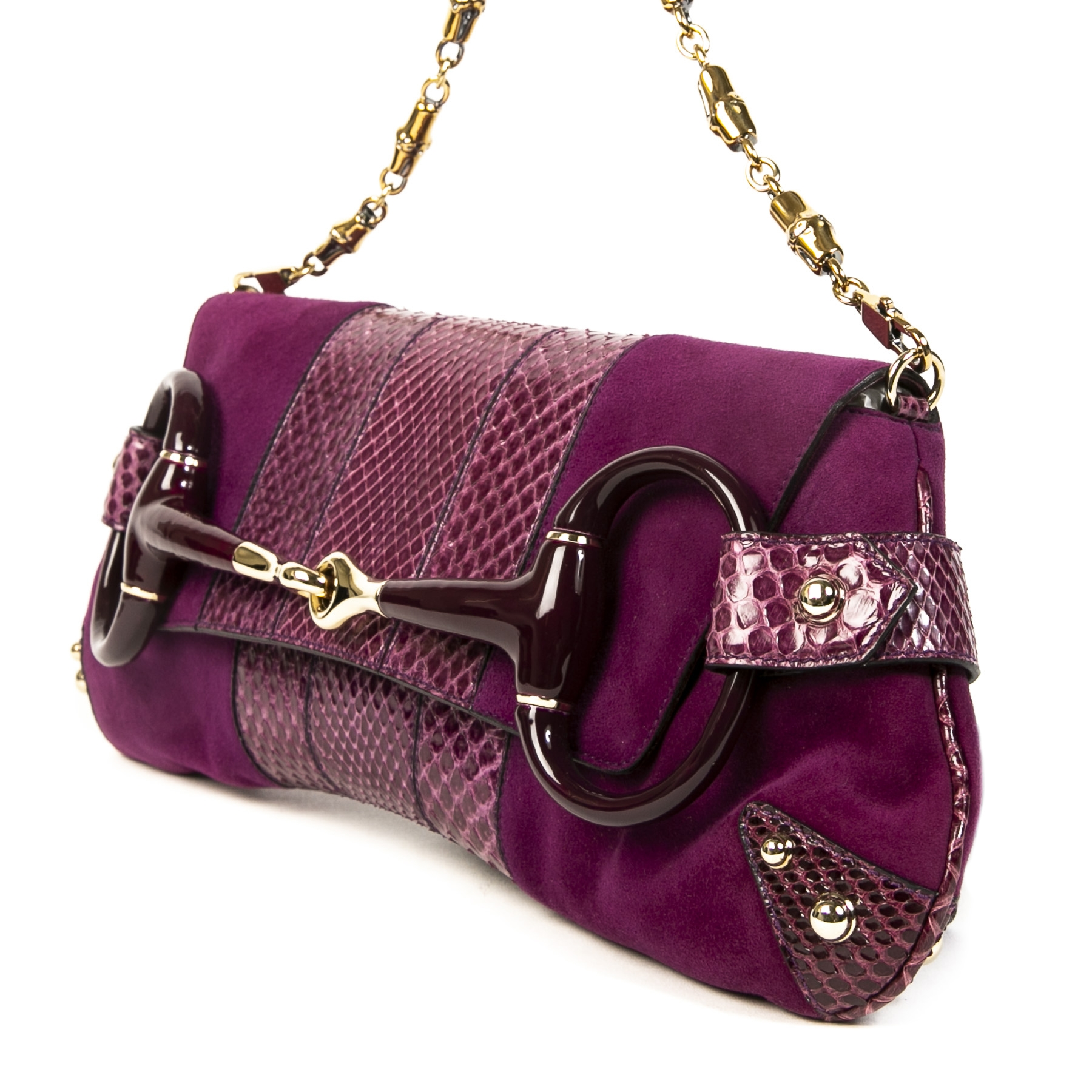 Authentieke tweedehands vintage Gucci Purple Python Horsebit Clutch koop online webshop LabelLOV