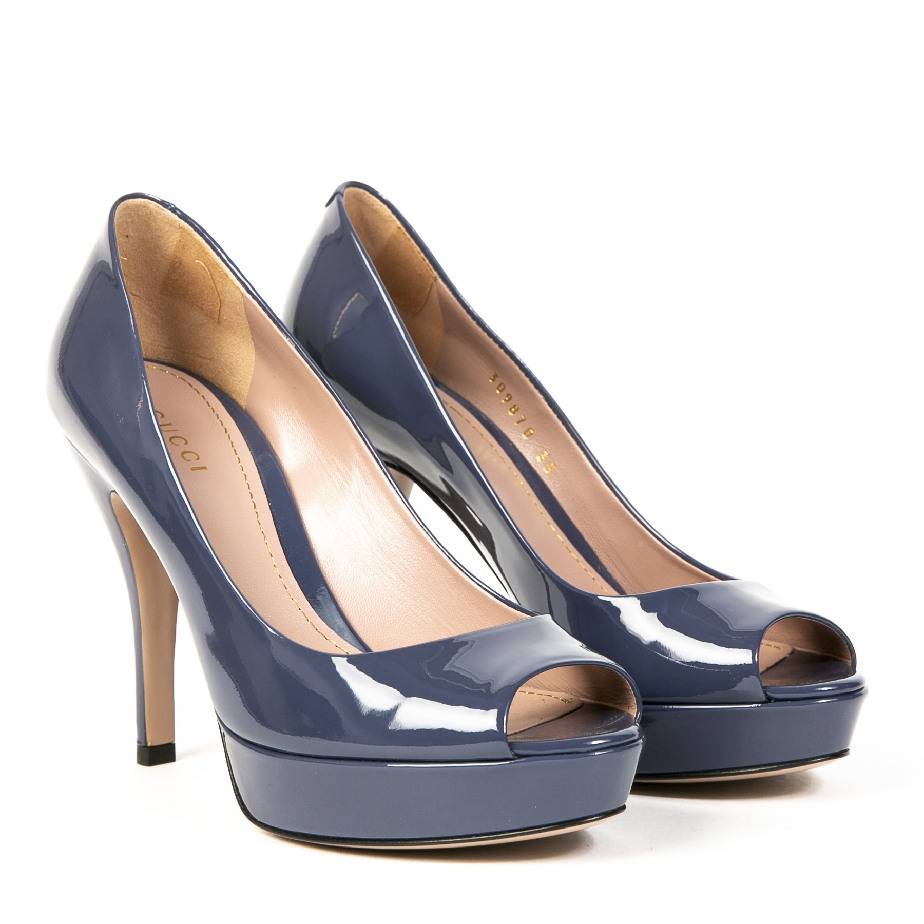 Gucci Blue Patent Leather Peep-Toe Platform Pumps