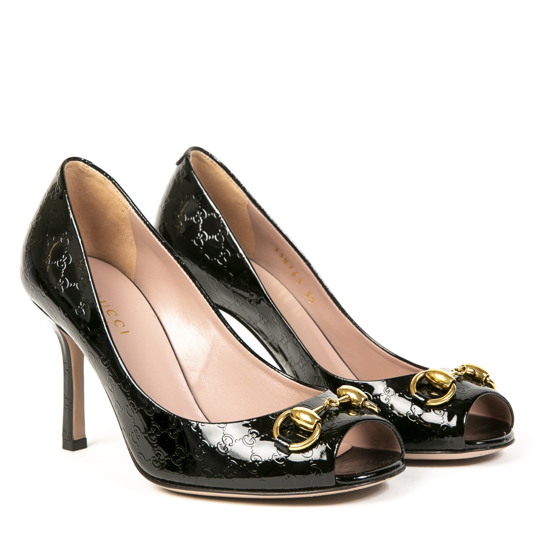 Gucci Black Monogram Patent Leather Horsebit Pumps