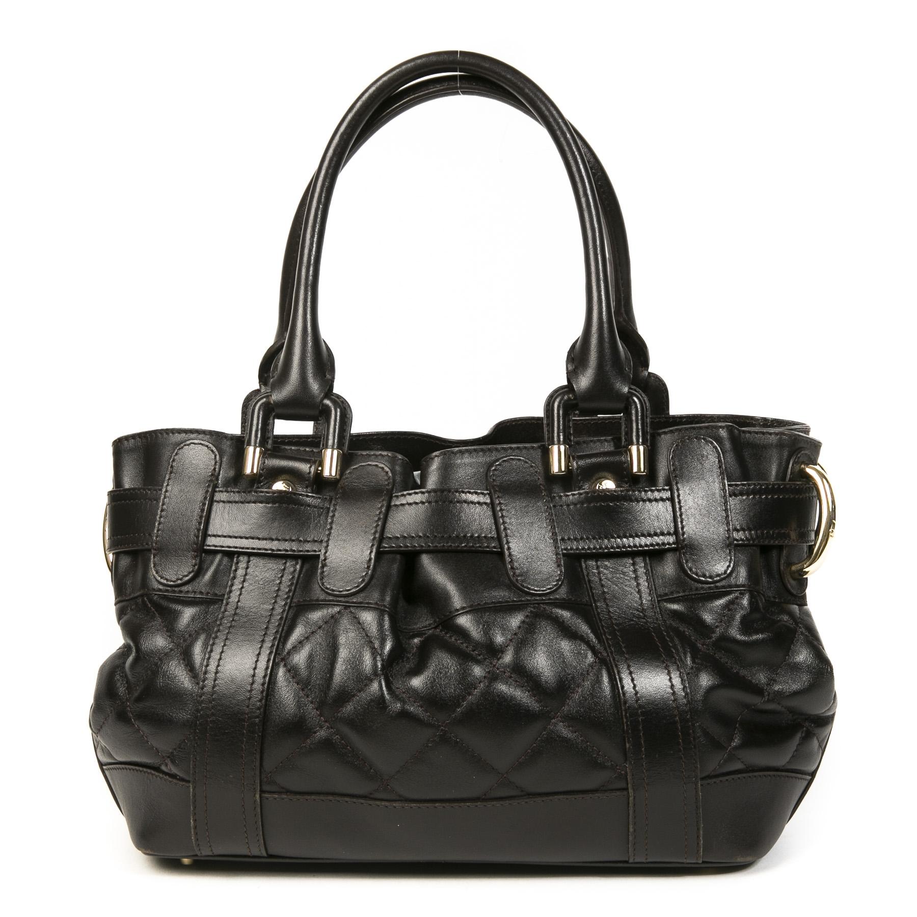 Burberry Prorsum Beaton Dark Brown Leather Shoulder Bag