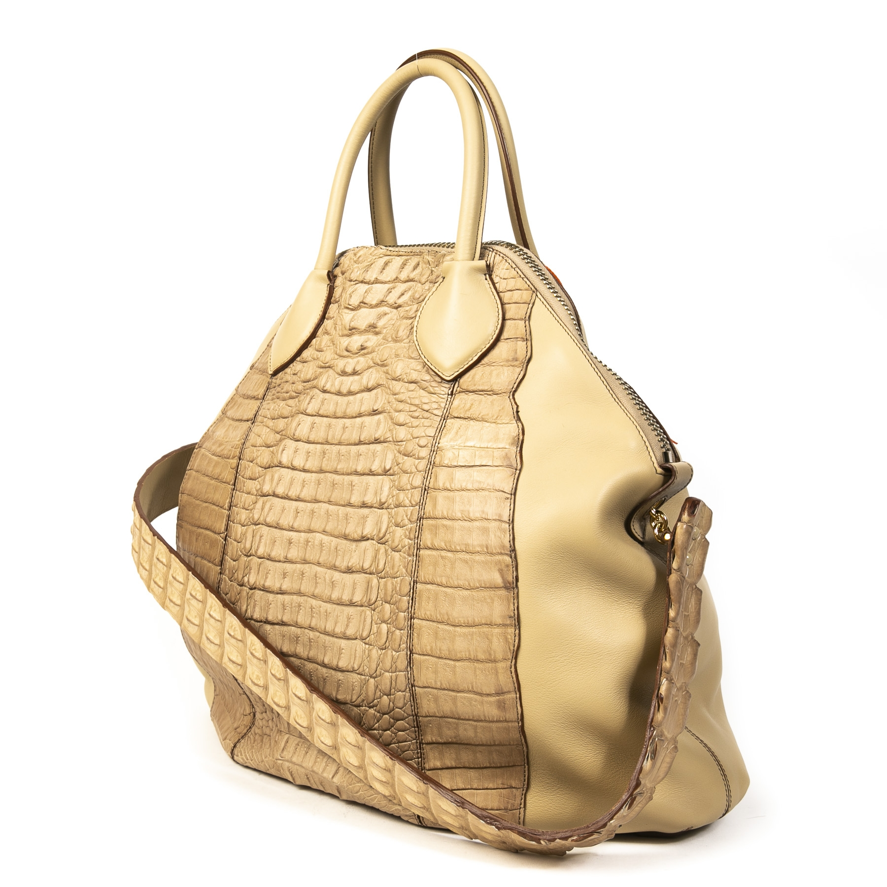 Authentieke Tweedehands Roberto Cavalli Cream Leather Snake Embossed Tote Bag juiste prijs veilig online shoppen luxe merken webshop winkelen Antwerpen België mode fashion