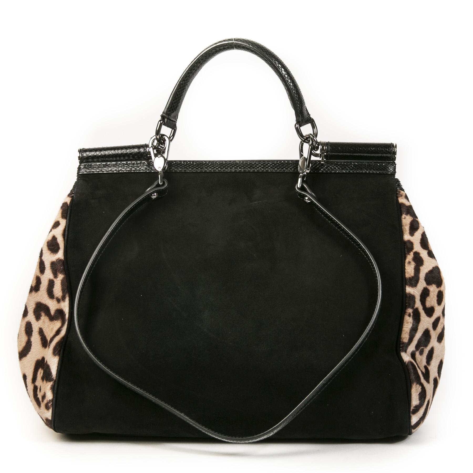 Authentieke Tweedehands Dolce & Gabbana Leopard Black Top Handle Bag juiste prijs veilig online shoppen luxe merken webshop winkelen Antwerpen België mode fashion