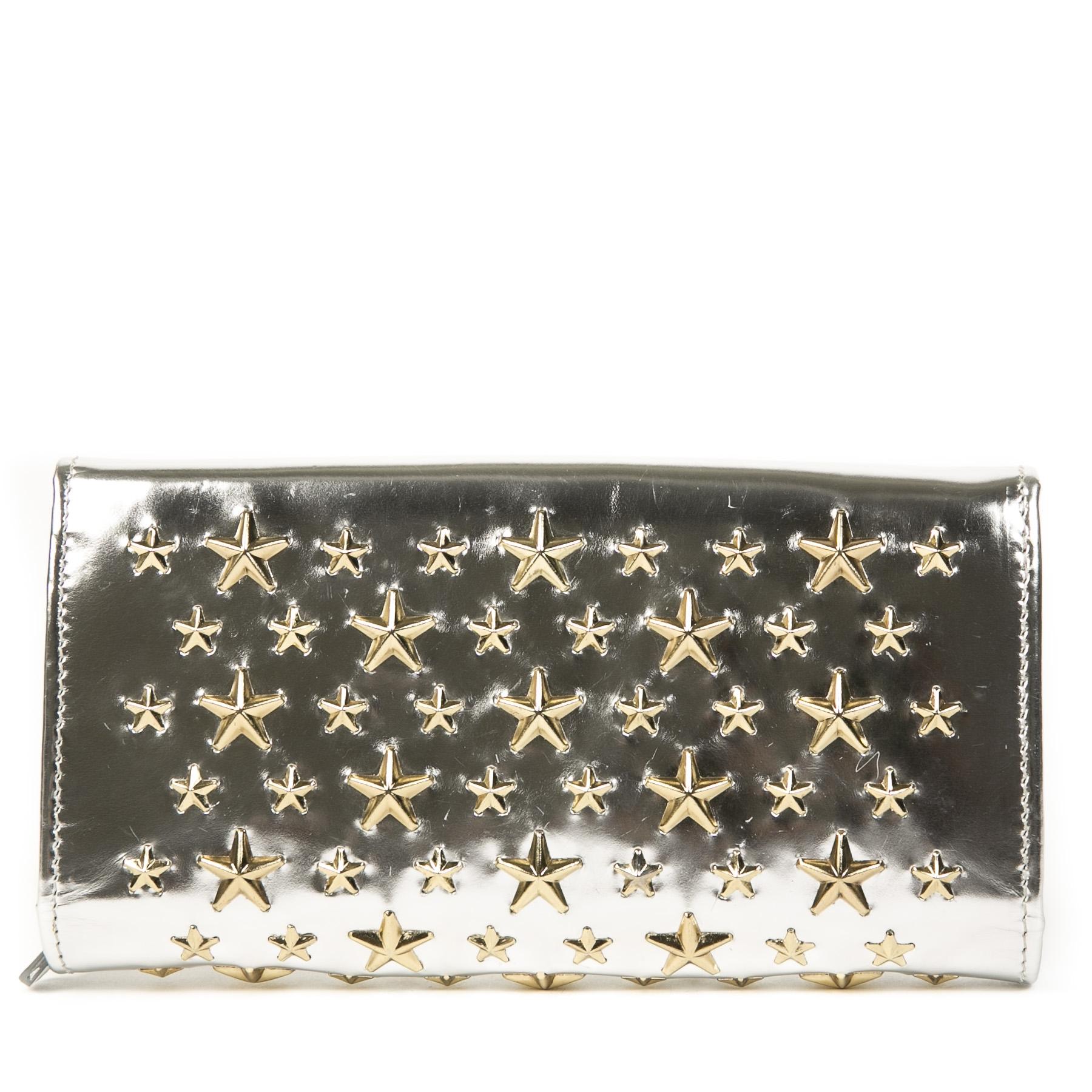 Authentieke Tweedehands Jimmy Choo Silver Stars Wallet On Chain juiste prijs veilig online shoppen luxe merken webshop winkelen Antwerpen België mode fashion