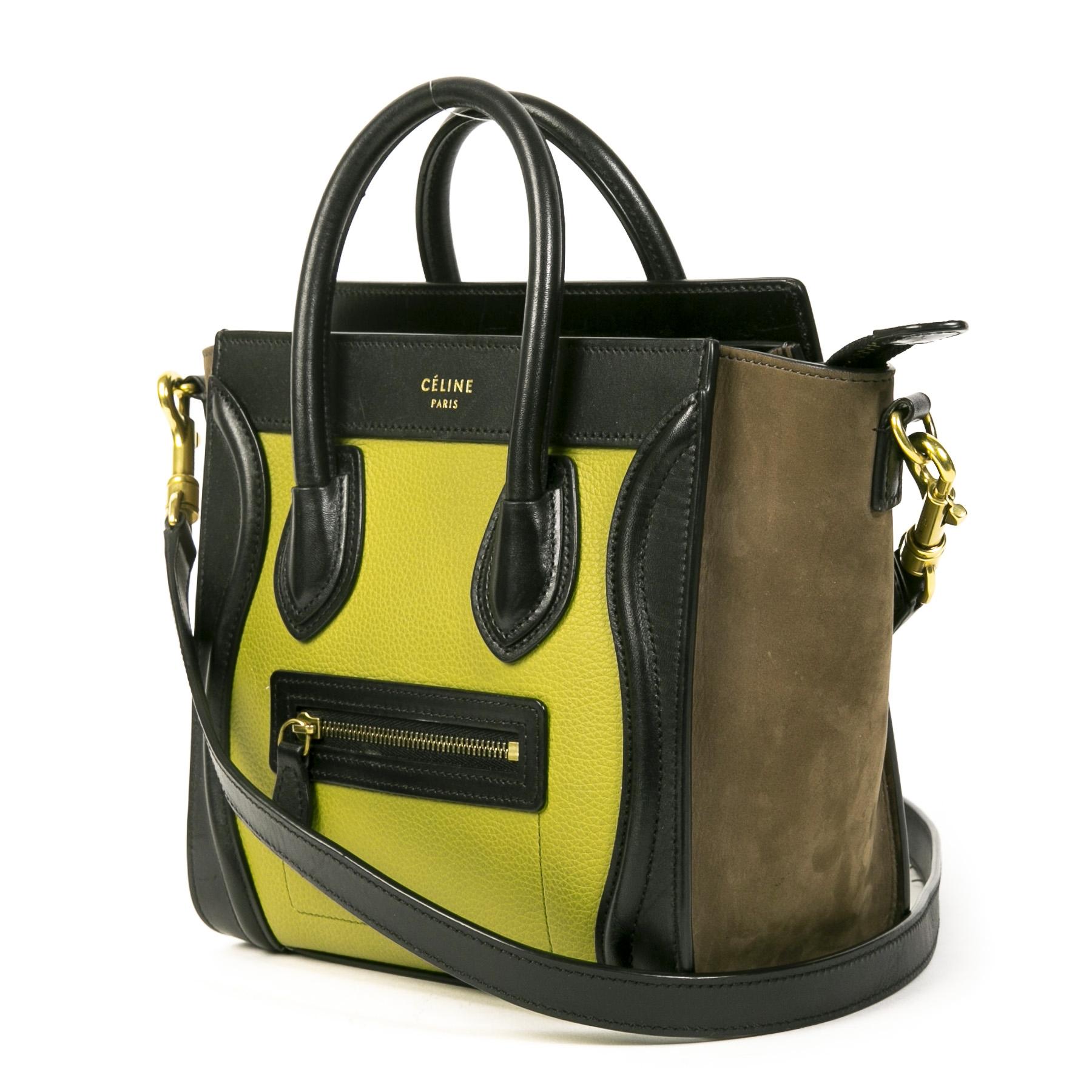 Authentieke Tweedehands Céline Nano Luggage Mint Brown Black Leather Crossbody Bag juiste prijs veilig online shoppen luxe merken webshop winkelen Antwerpen België mode fashion