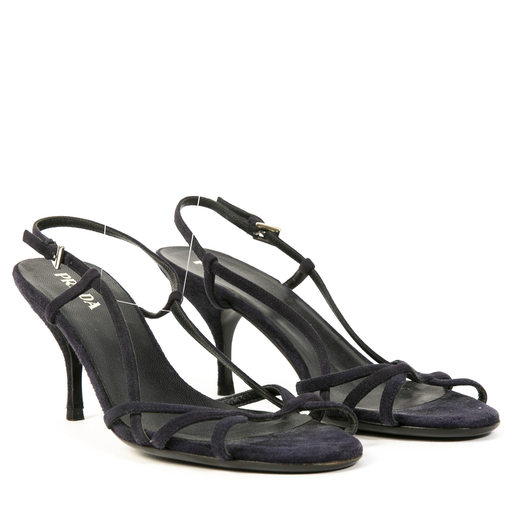 Authentic secondhand Prada Dark Blue Suede Strappy Sandal Heels juiste prijs veilig online shoppen luxe merken webshop winkelen Antwerpen België mode fashion